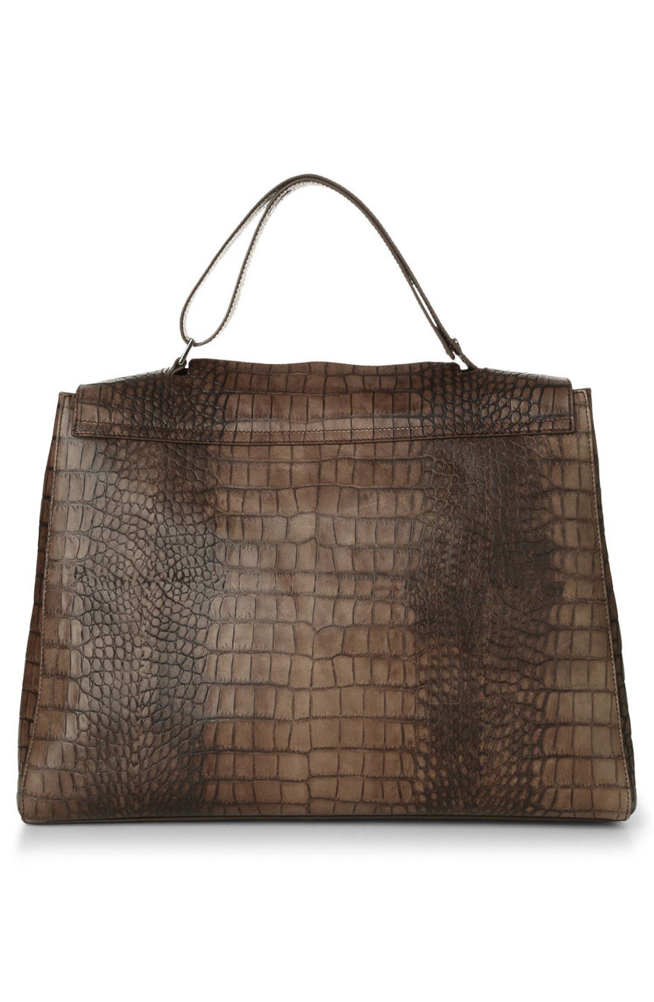 Alternate Image 2  - Orciani Large Sveva Croc Embossed Calfskin Leather Convertible Satchel