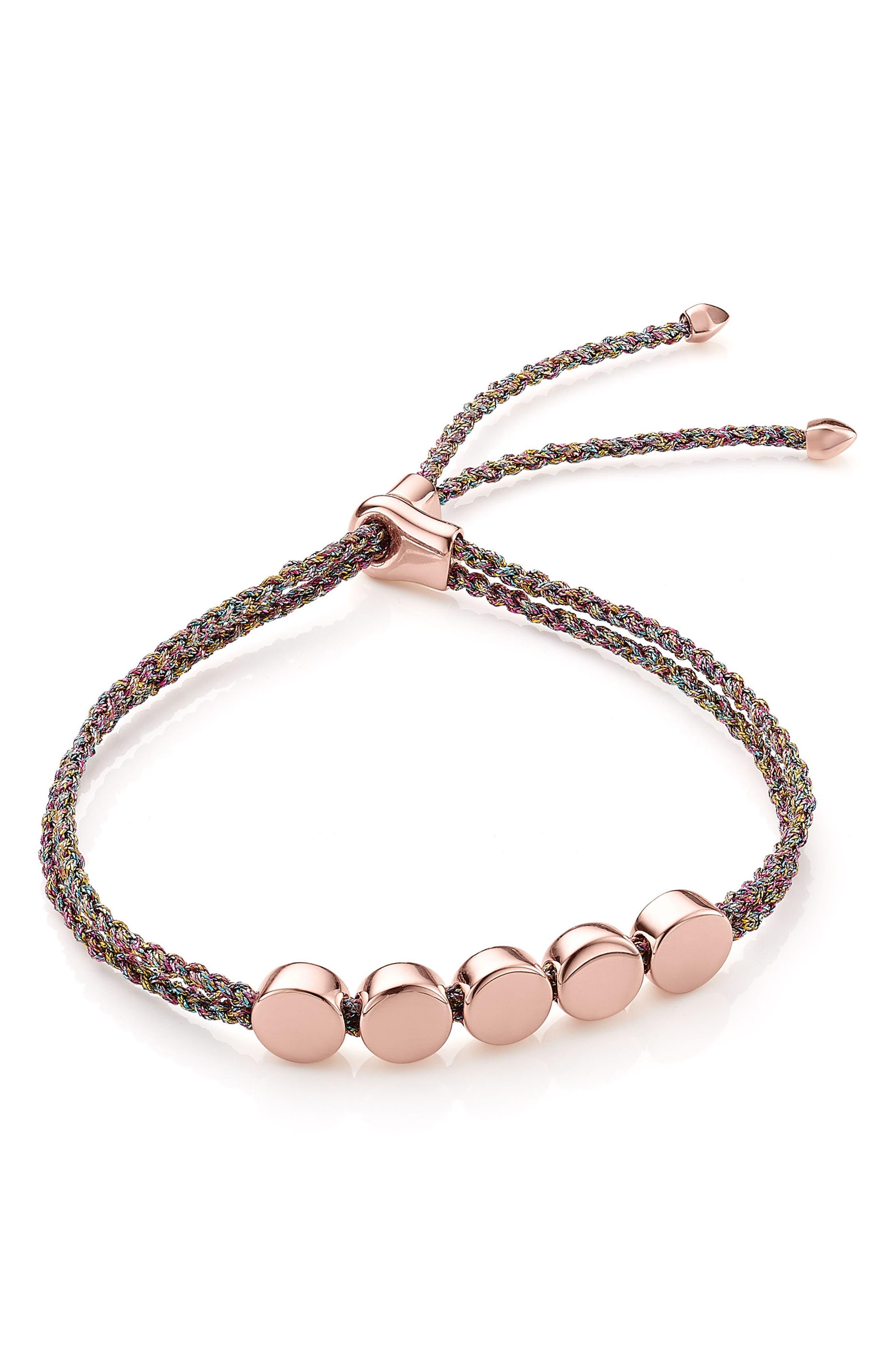 Linear Bead Friendship Bracelet,                             Main thumbnail 1, color,                             Rose Gold/ Rainbow