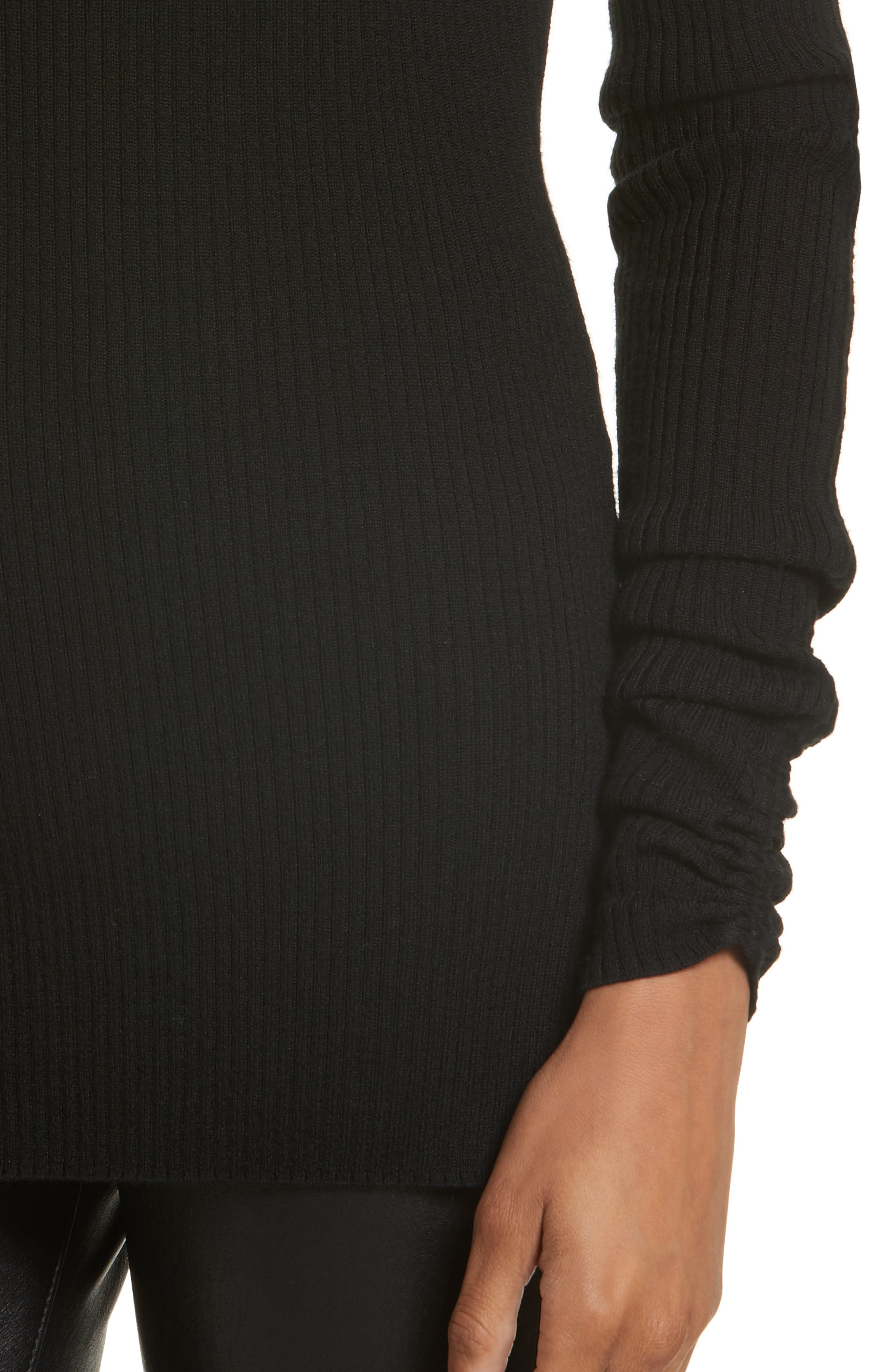 Merino Wool Off the Shoulder Sweater,                             Alternate thumbnail 4, color,                             Black