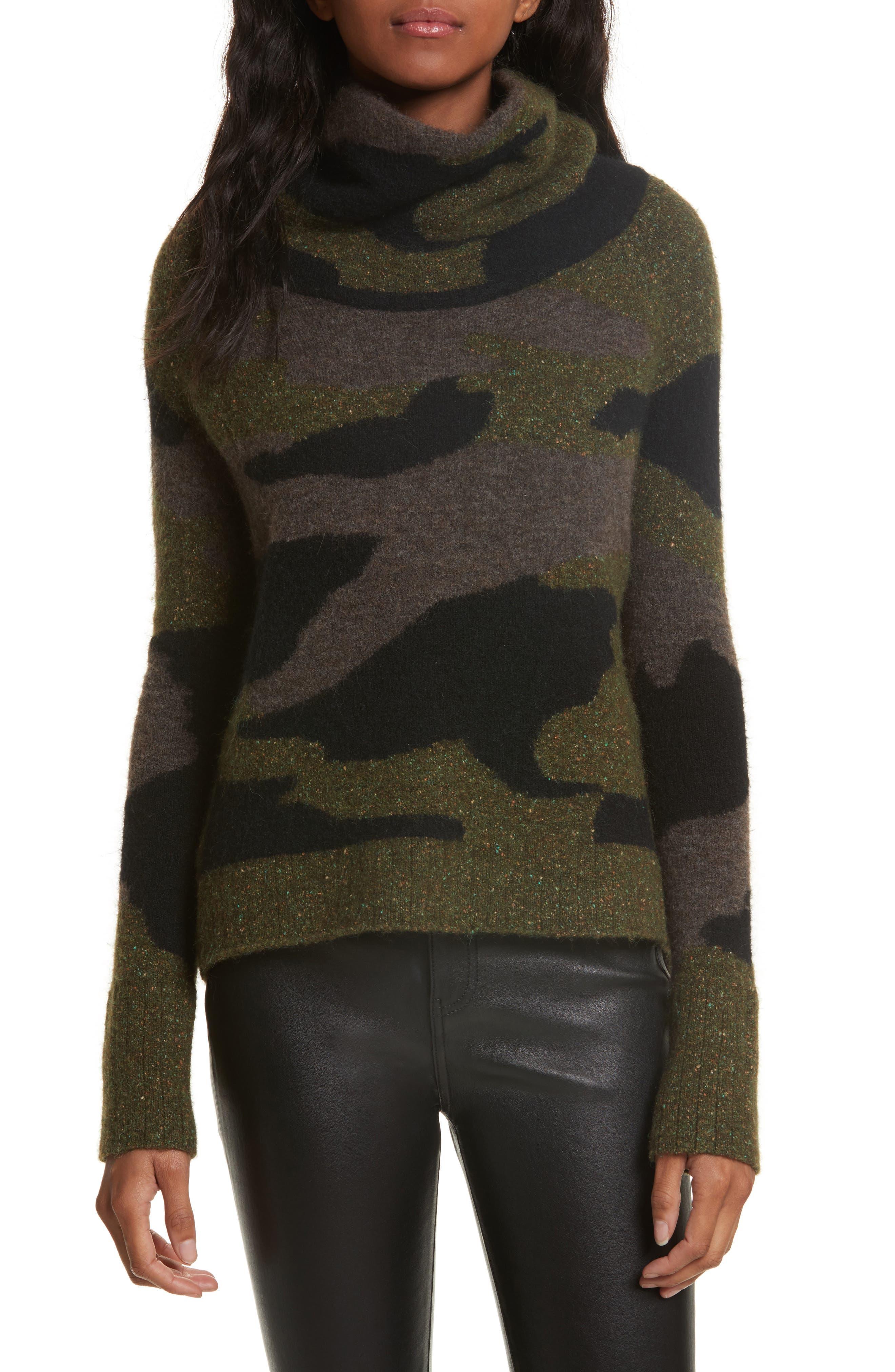 Veronica Beard Davis Camo Print Turtleneck Sweater