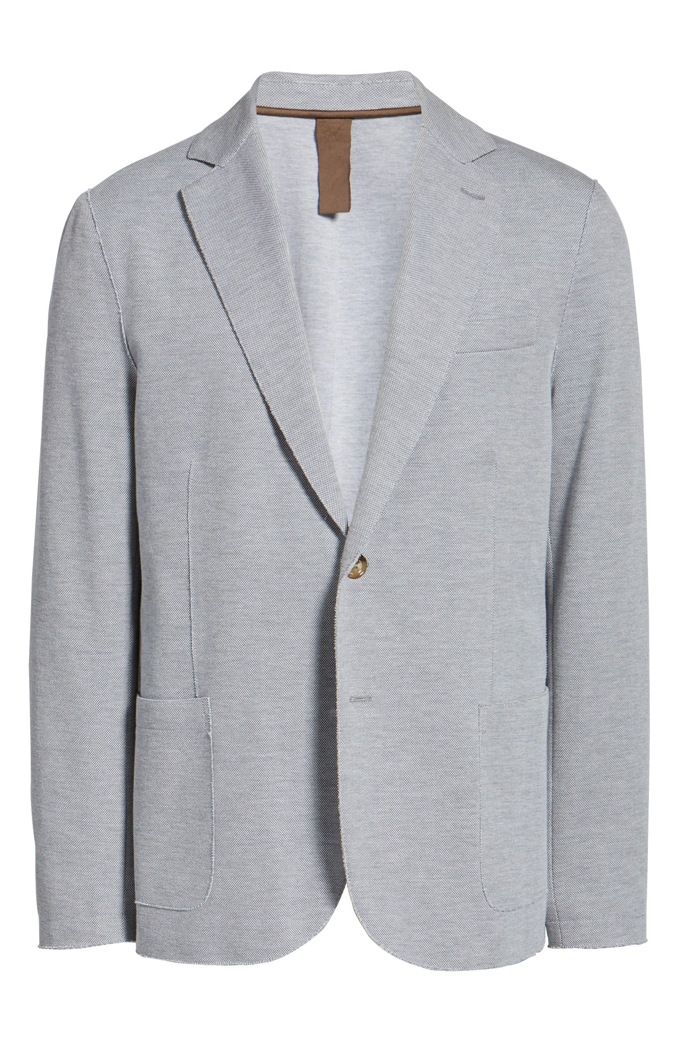 Trim Fit Jersey Blazer,                             Alternate thumbnail 8, color,                             Grey