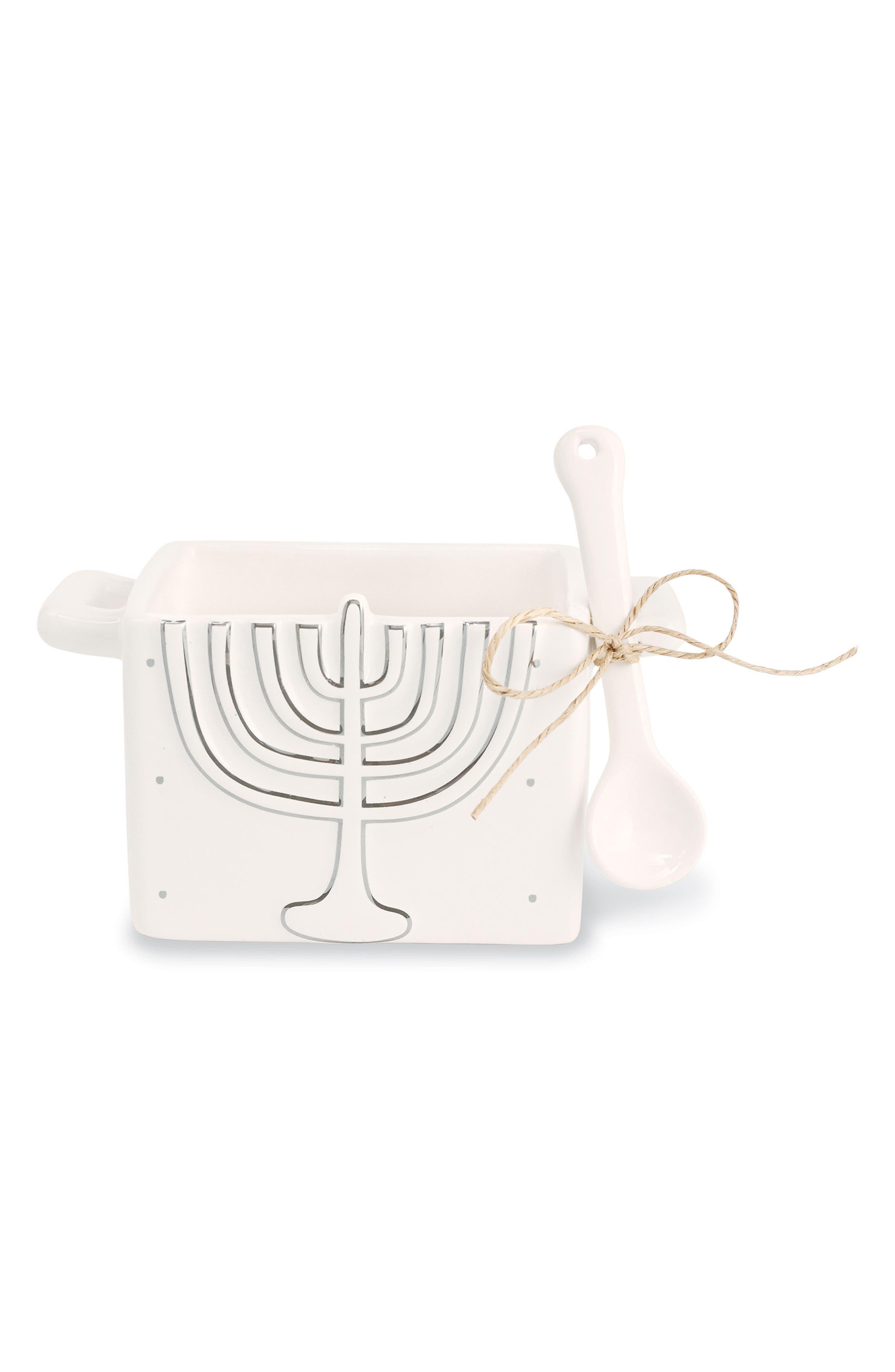Main Image - Mud Pie Menorah Hanukkah Candy Caddy & Spoon