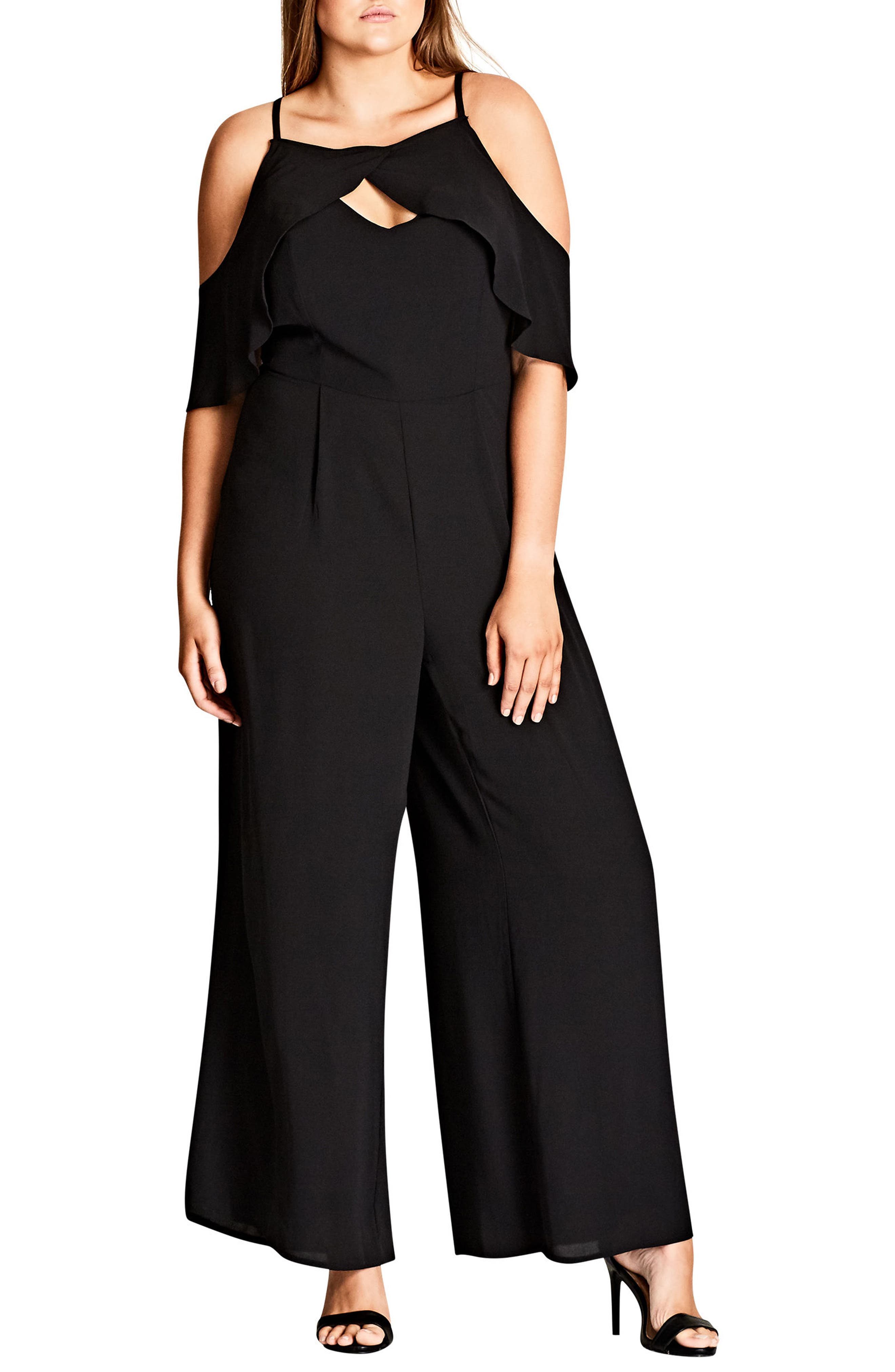 Serenity Cold Shoulder Jumpsuit,                             Main thumbnail 1, color,                             Black