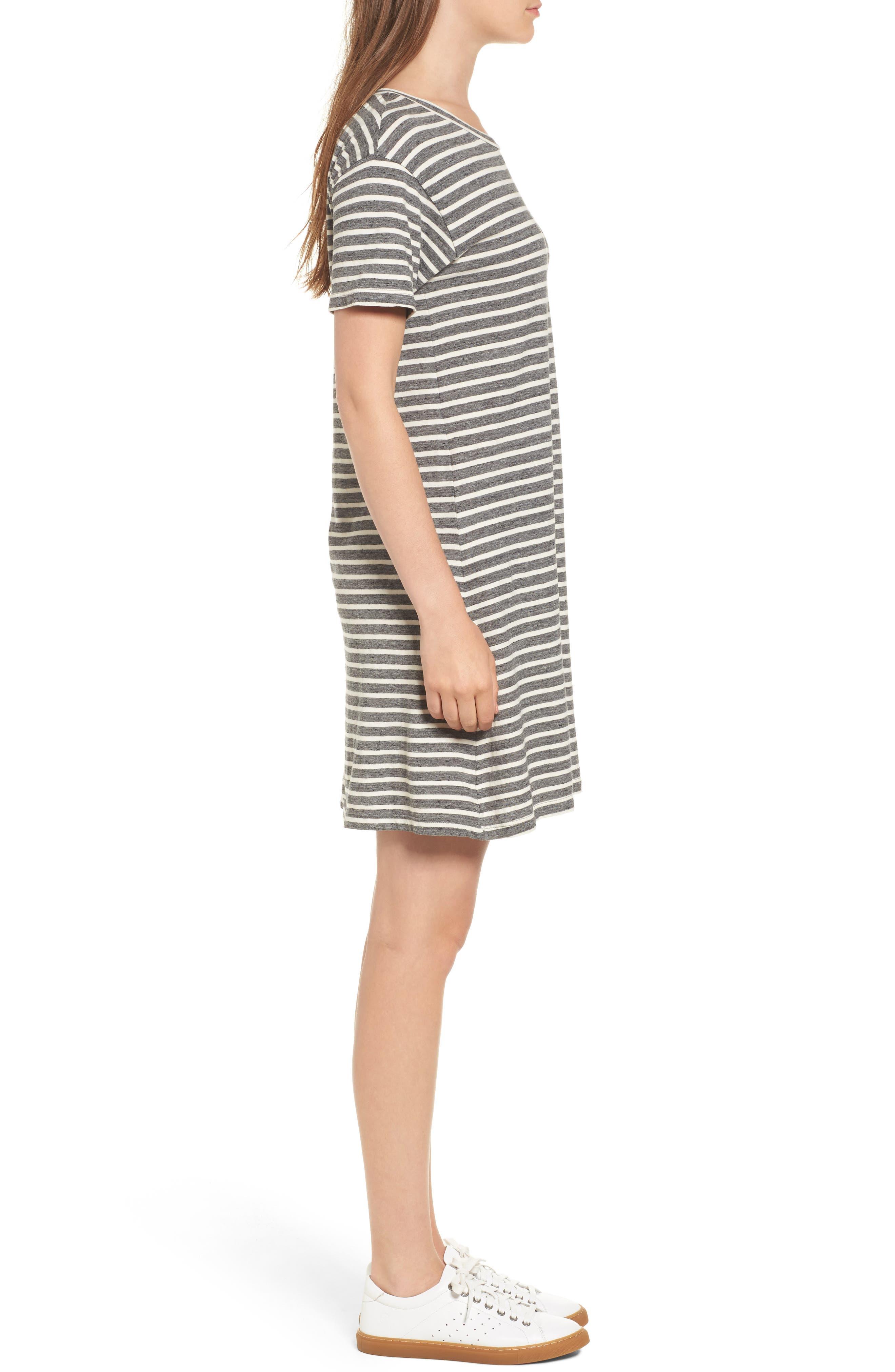 Stripe Knit T-Shirt Dress,                             Alternate thumbnail 3, color,                             Charcoal Anchor Stripe