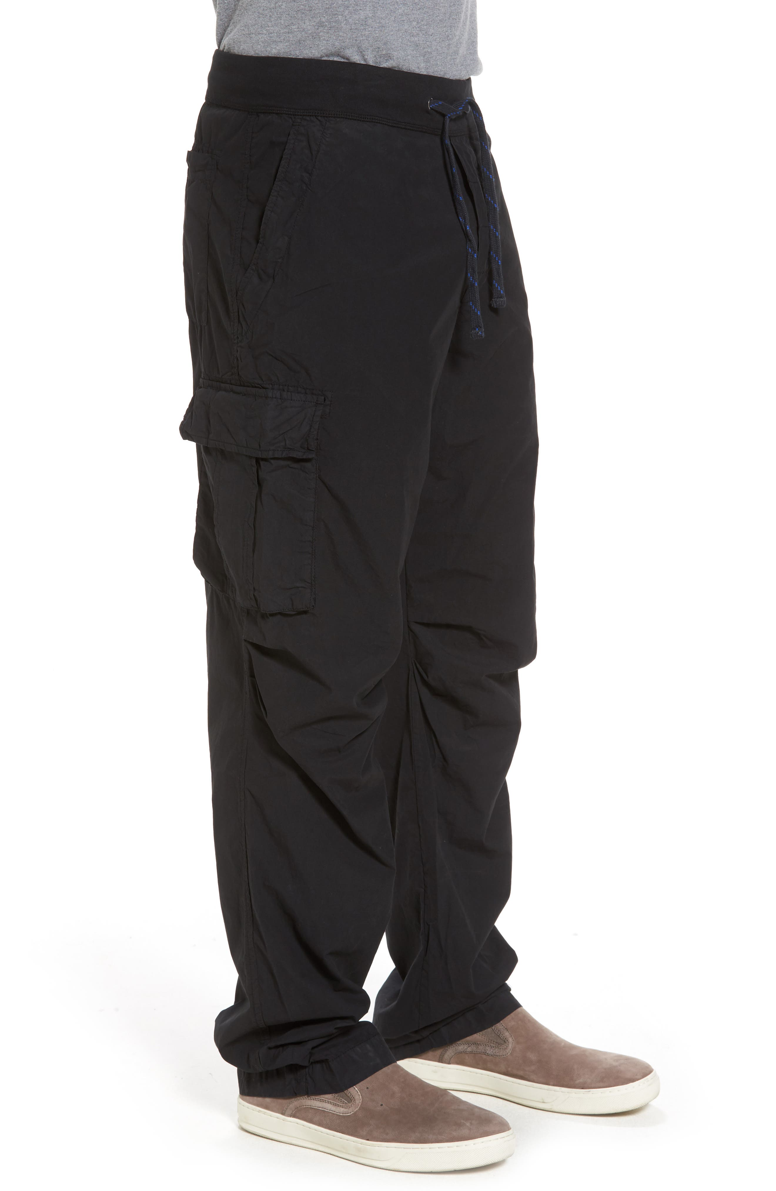 Contrast Waist Cargo Pants,                             Alternate thumbnail 3, color,                             Black