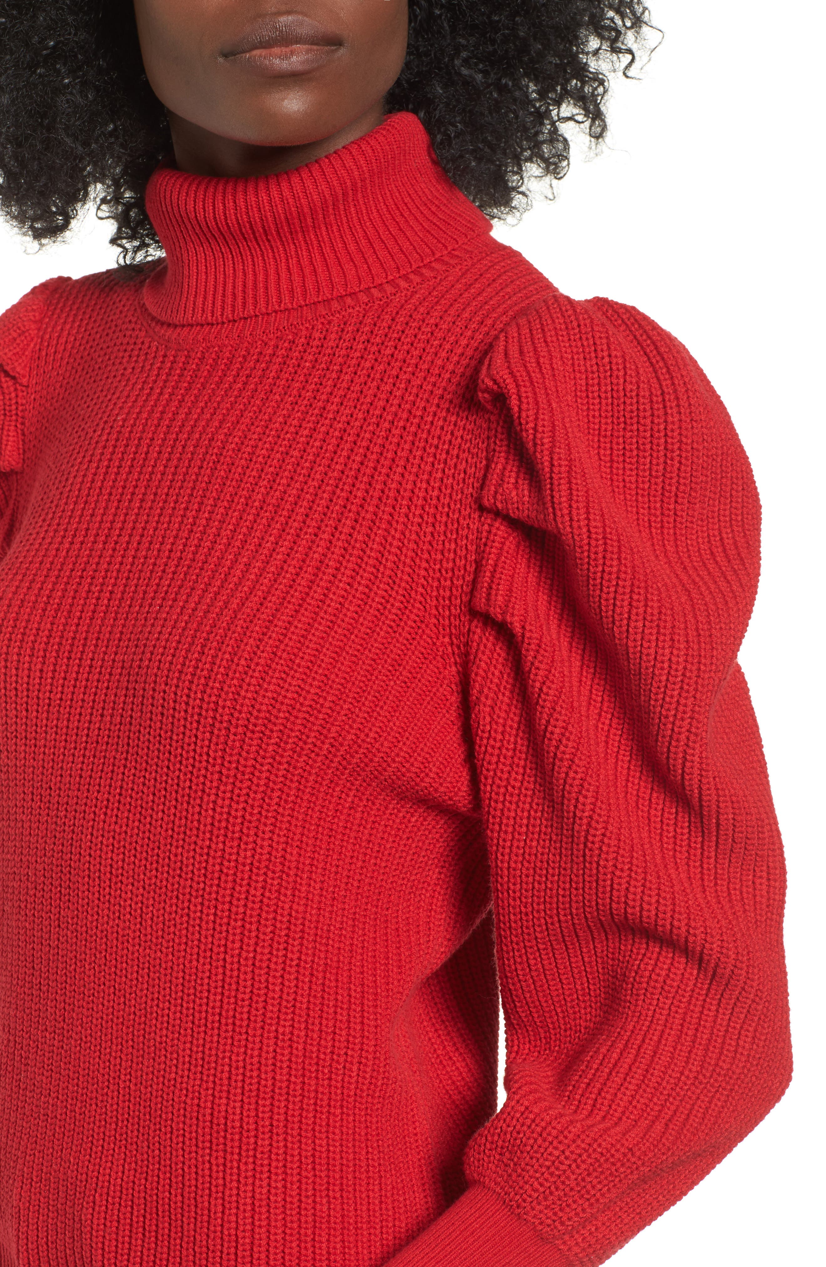 Puff Sleeve Turtleneck Sweater,                             Alternate thumbnail 4, color,                             Red Couture