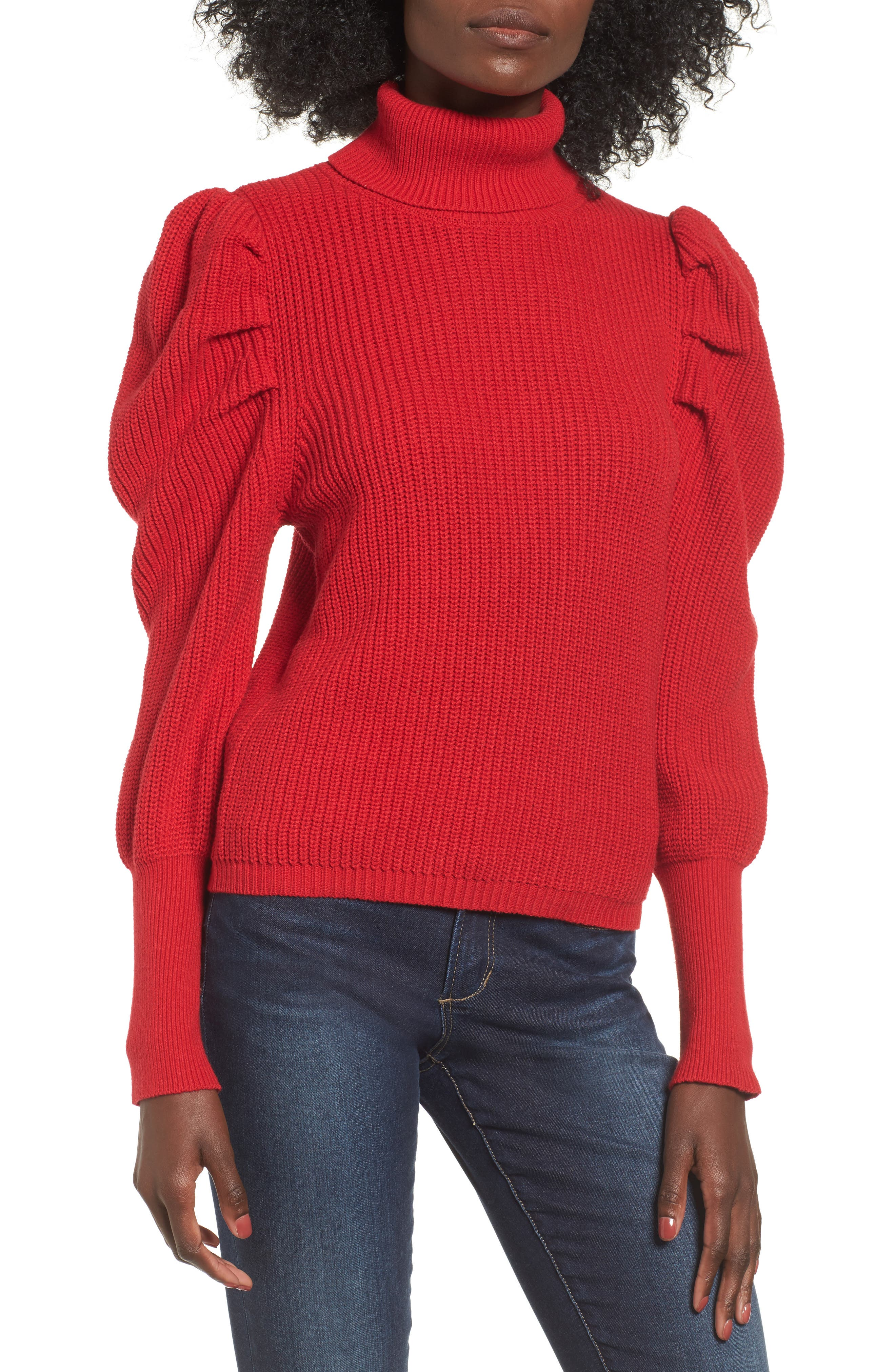 Puff Sleeve Turtleneck Sweater,                             Main thumbnail 1, color,                             Red Couture