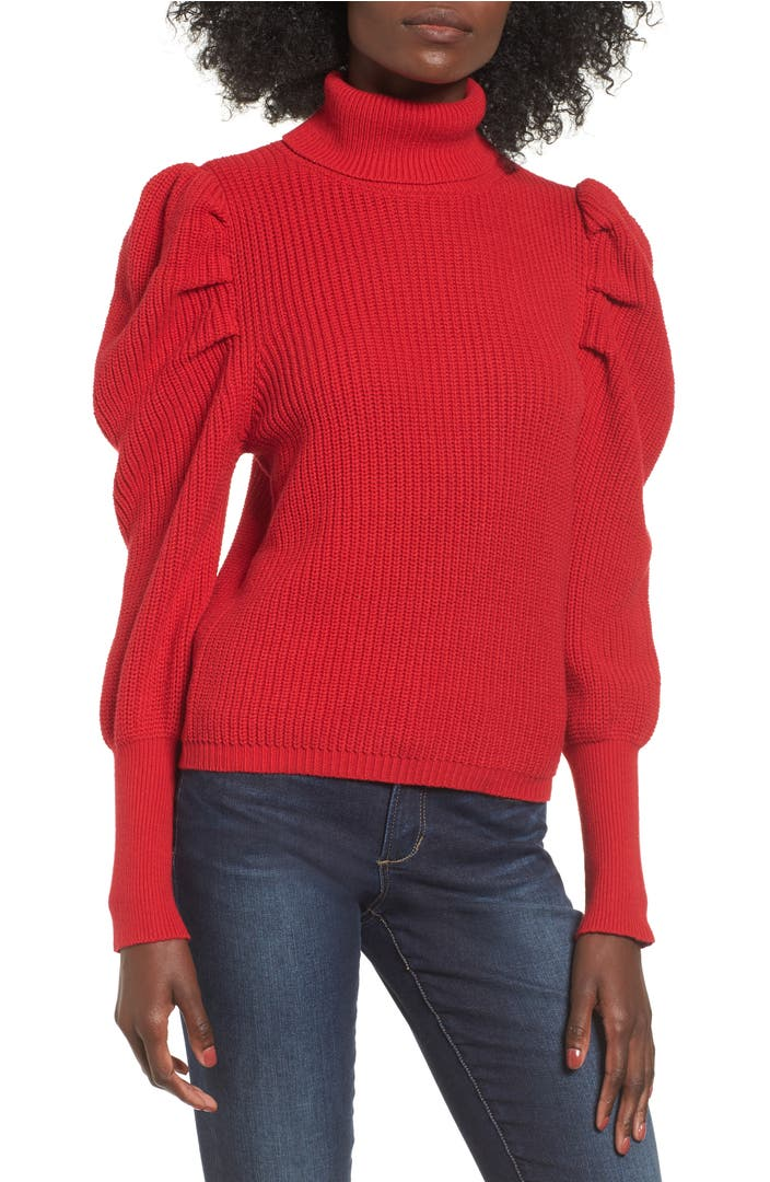 Leith Puff Sleeve Turtleneck Sweater Nordstrom