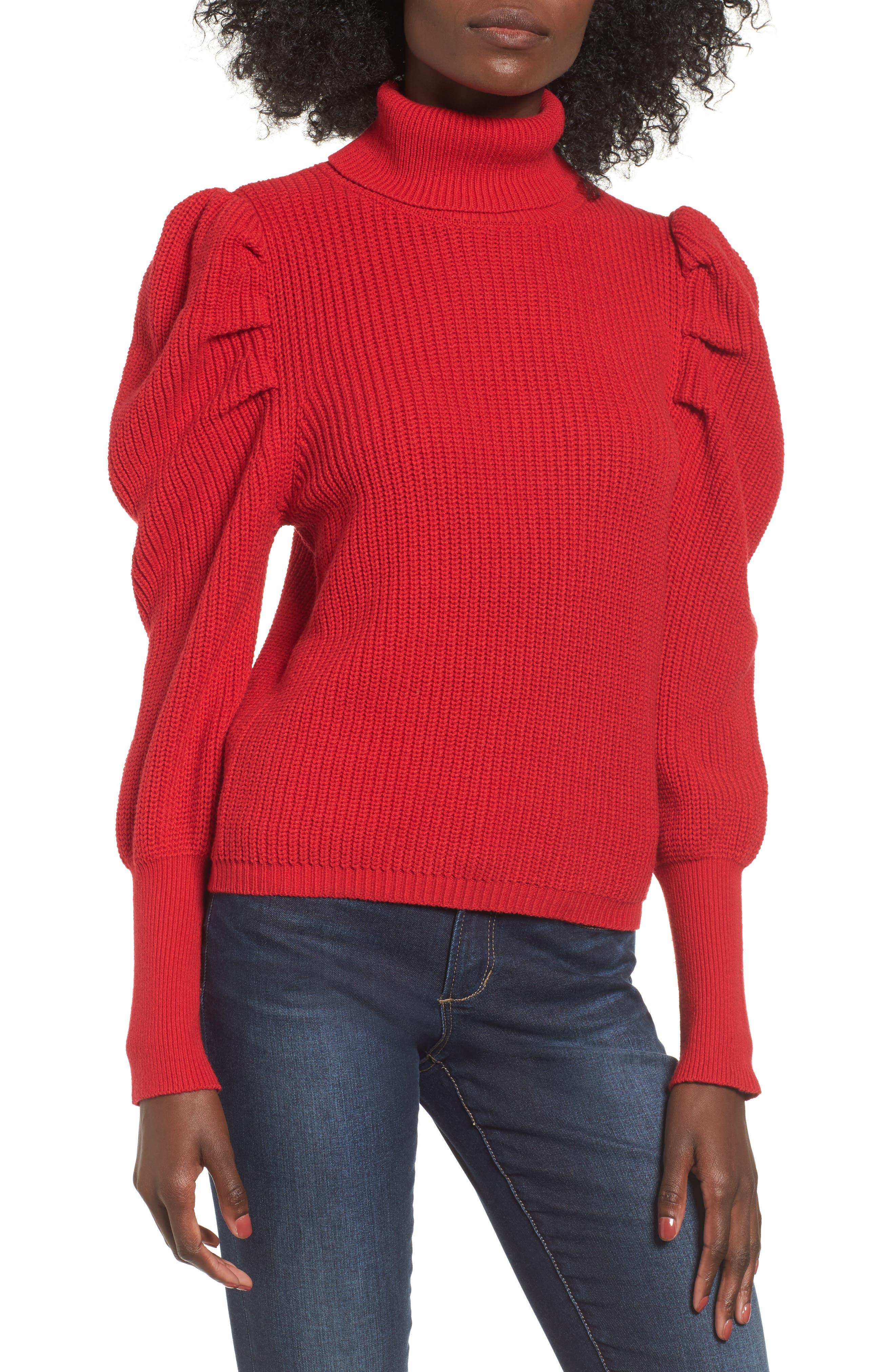 Leith Puff Sleeve Turtleneck Sweater