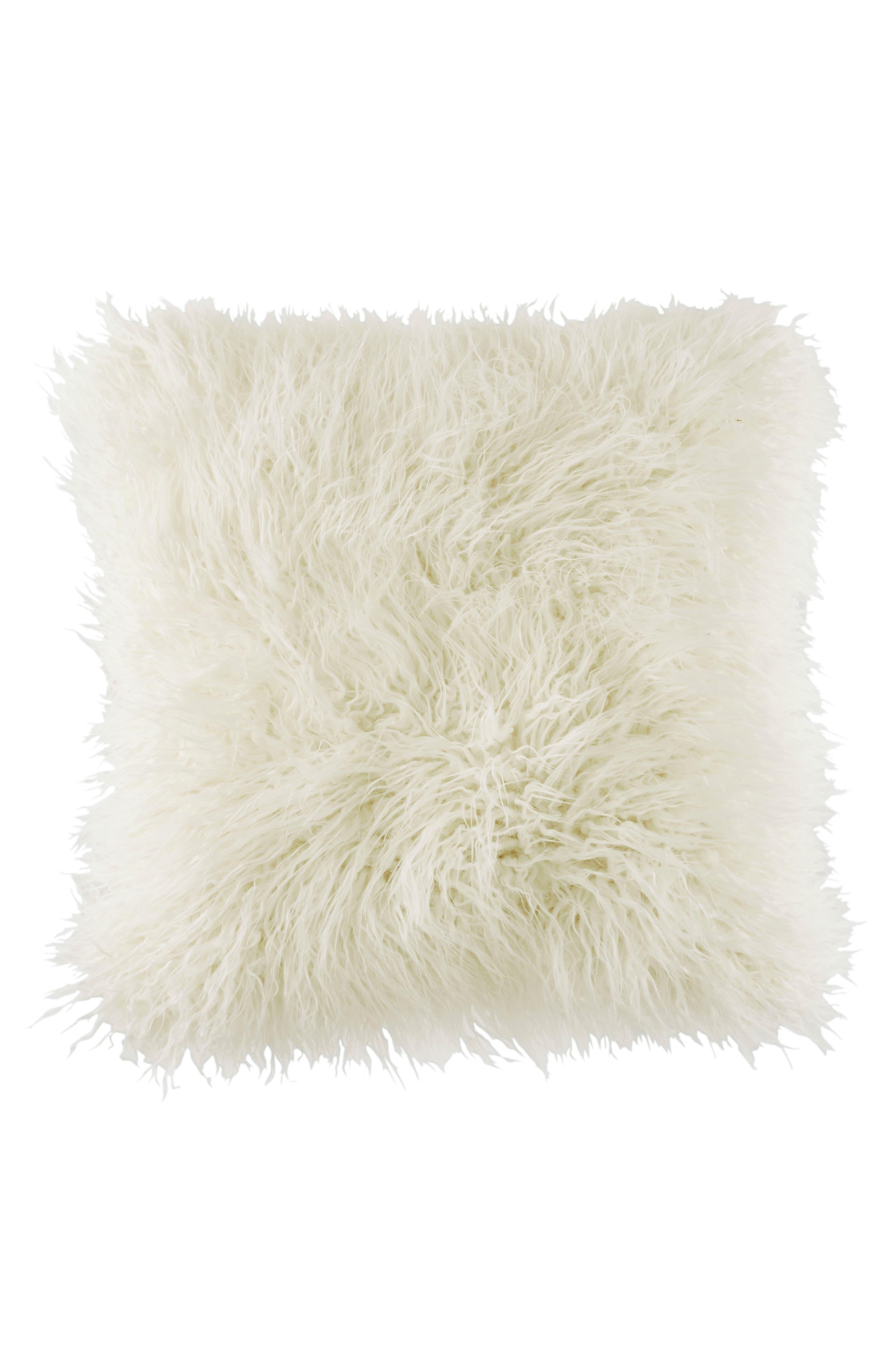 Faux Fur Pillow,                         Main,                         color, White