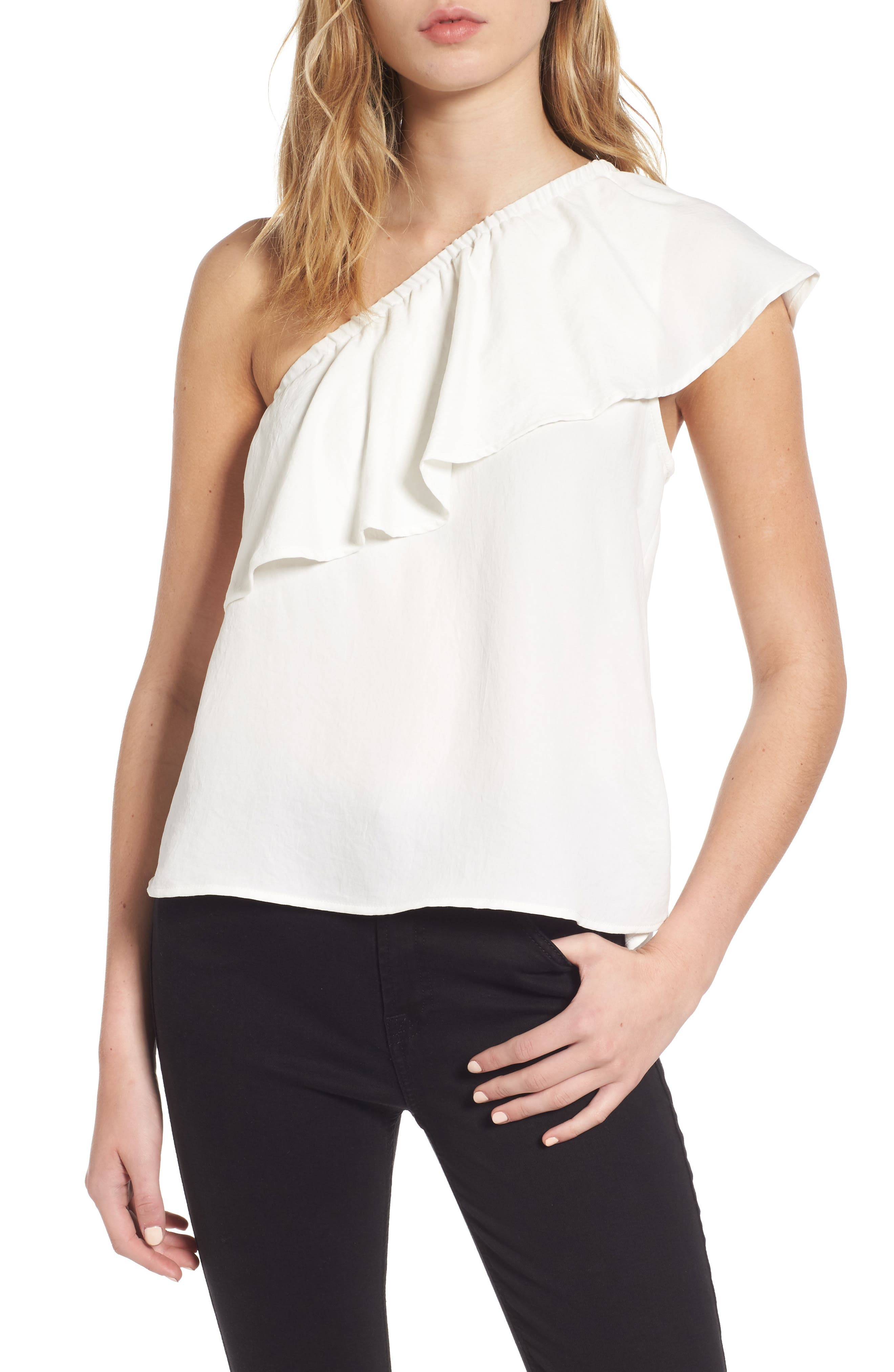 7 For All Mankind® Ruffle One-Shoulder Top