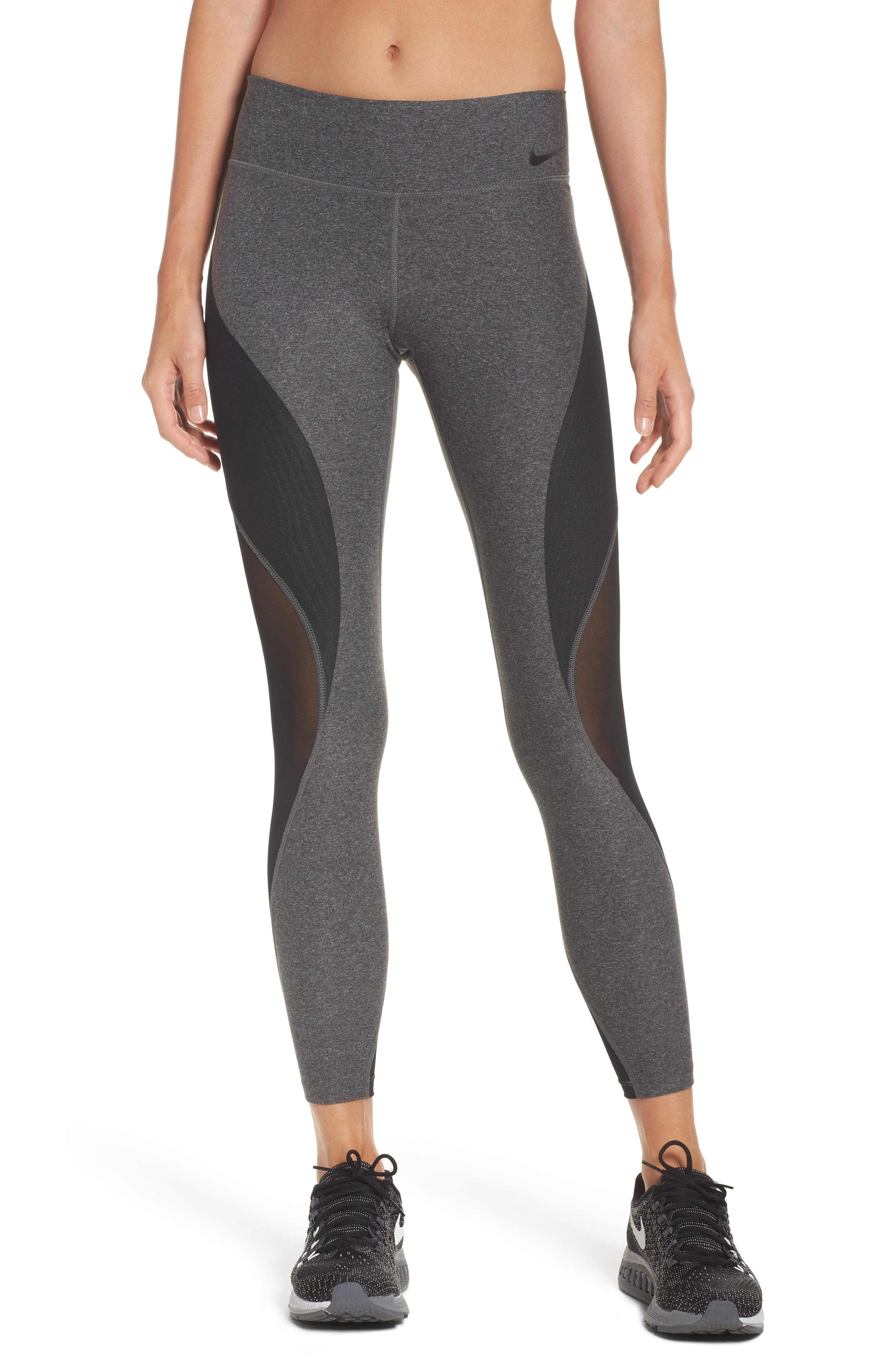 Power Legend Training Tights,                         Main,                         color, Charcoal Heather/ Black/ White
