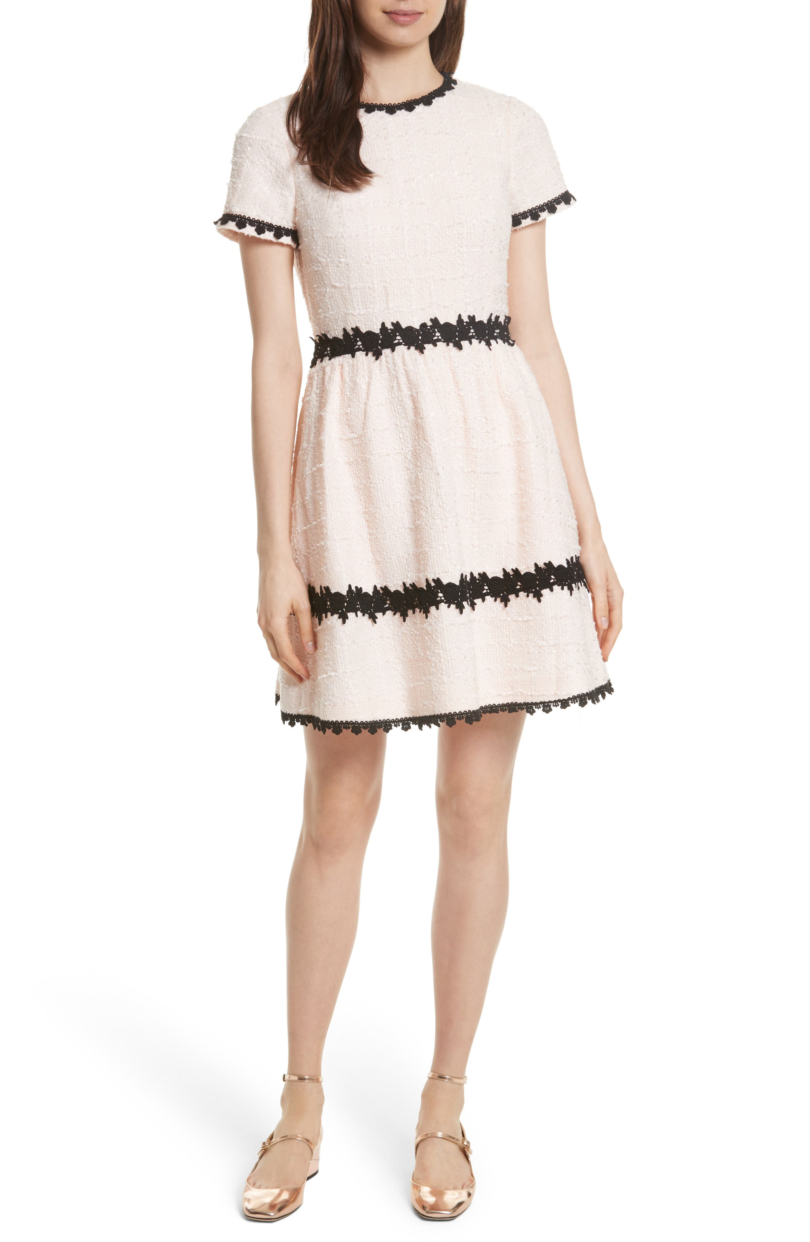 KATE SPADE NEW YORK jayne embellished bouclé fit & flare dress