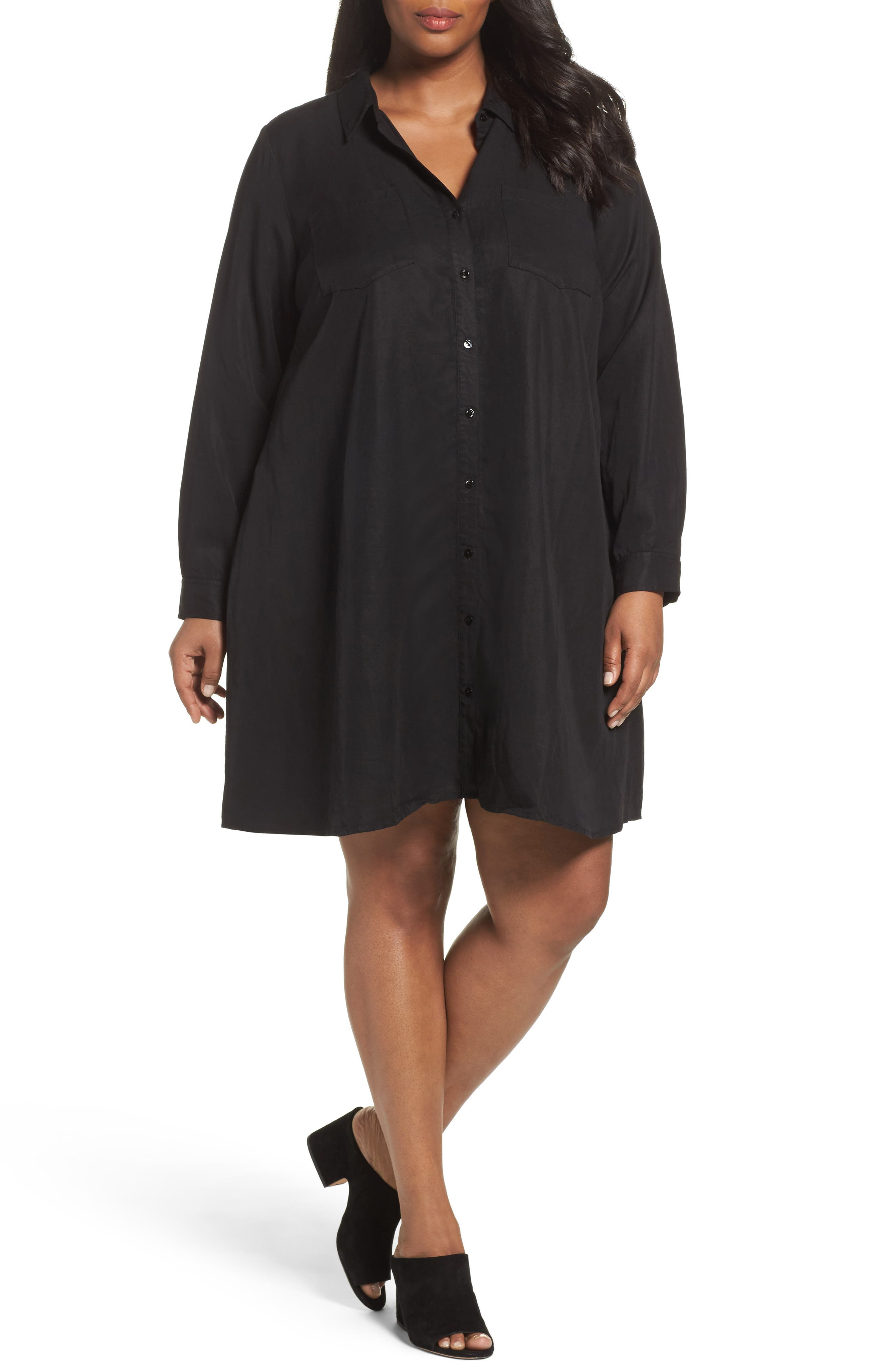 Alternate Image 1 Selected - Eileen Fisher Classic Collar A-Line Shirtdress (Plus Size)