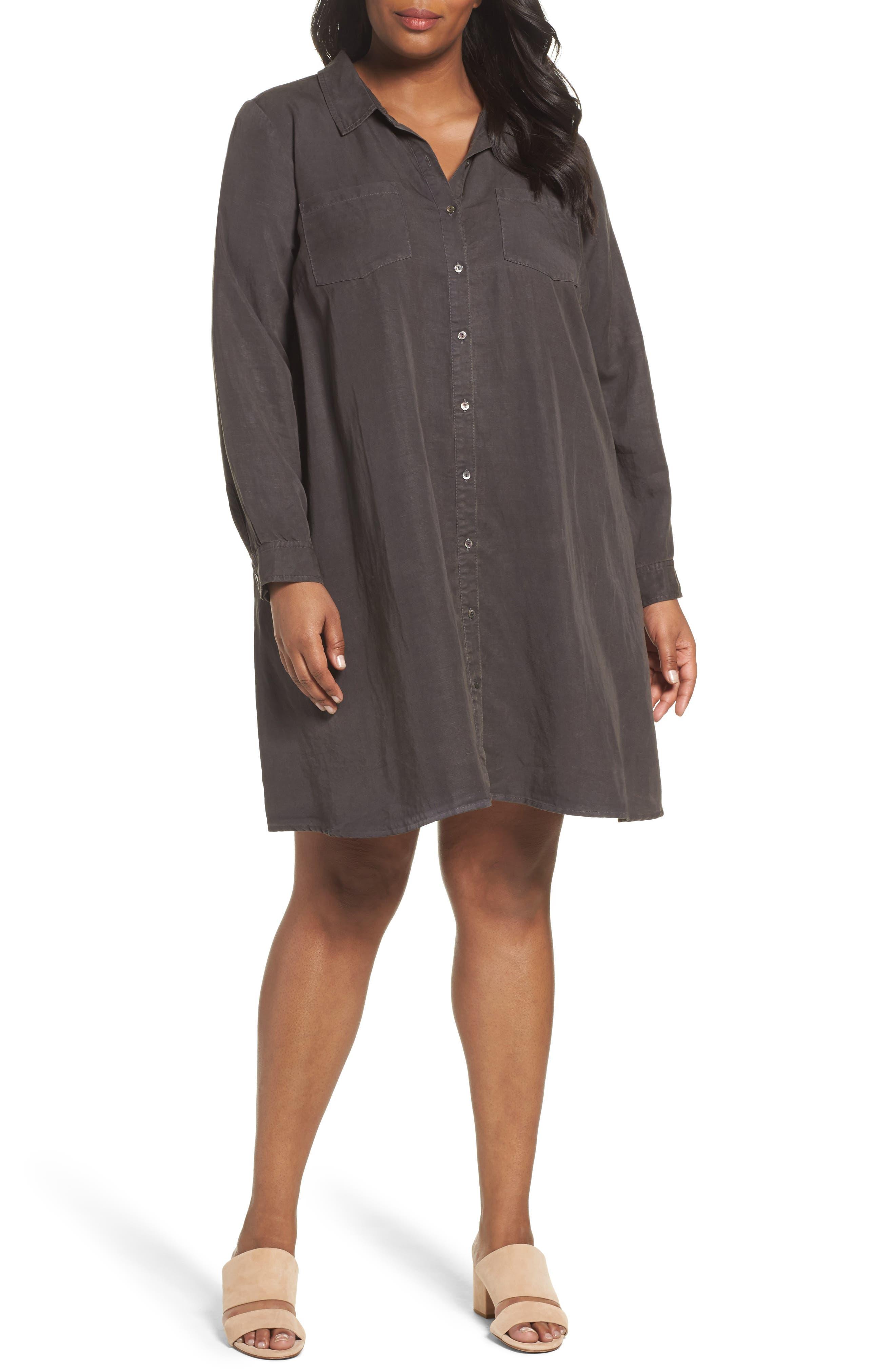 Eileen Fisher Classic Collar A-Line Shirtdress (Plus Size)