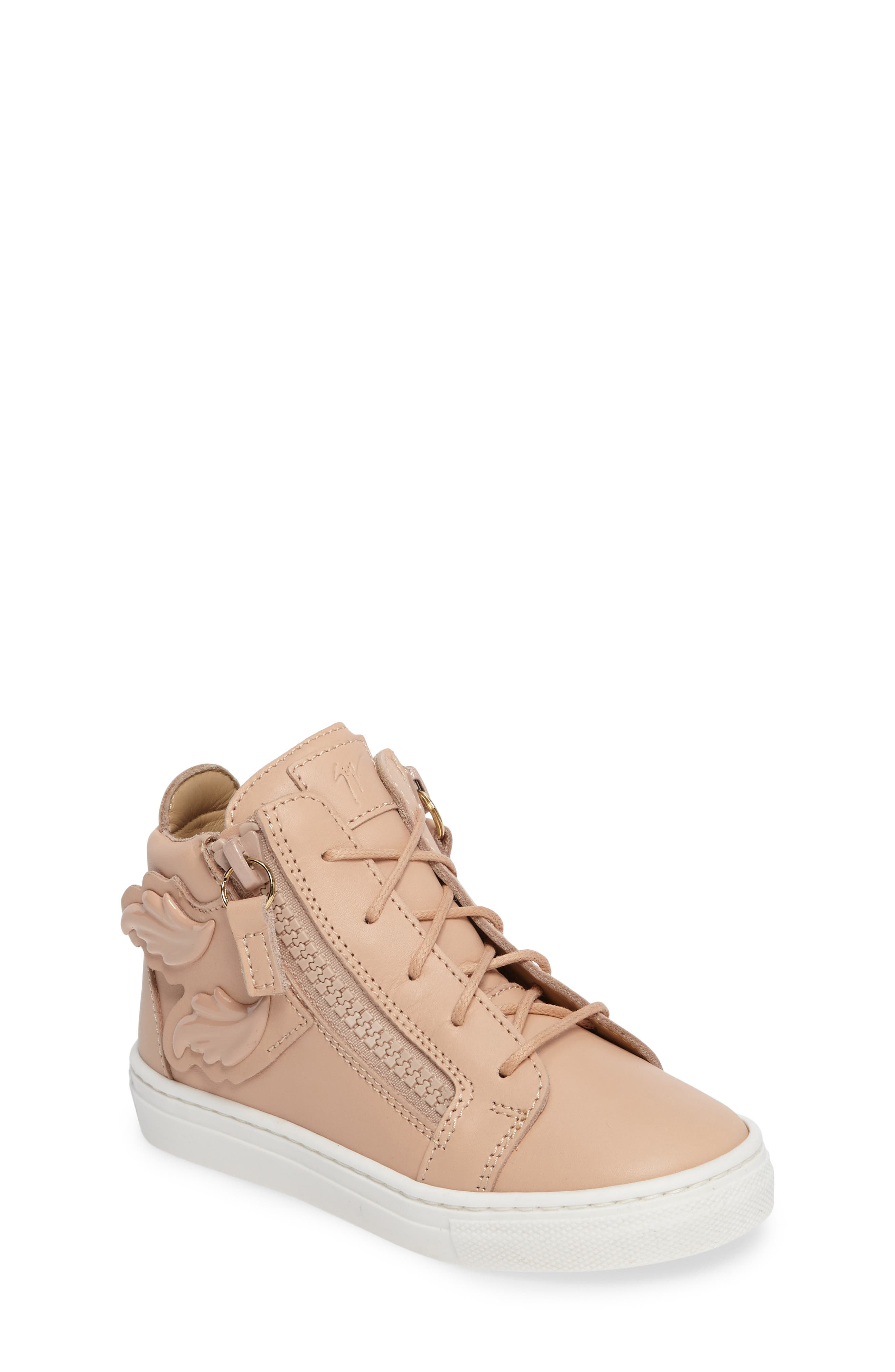 Foglia Embellished Zip Sneaker,                             Main thumbnail 1, color,                             Shell Leather