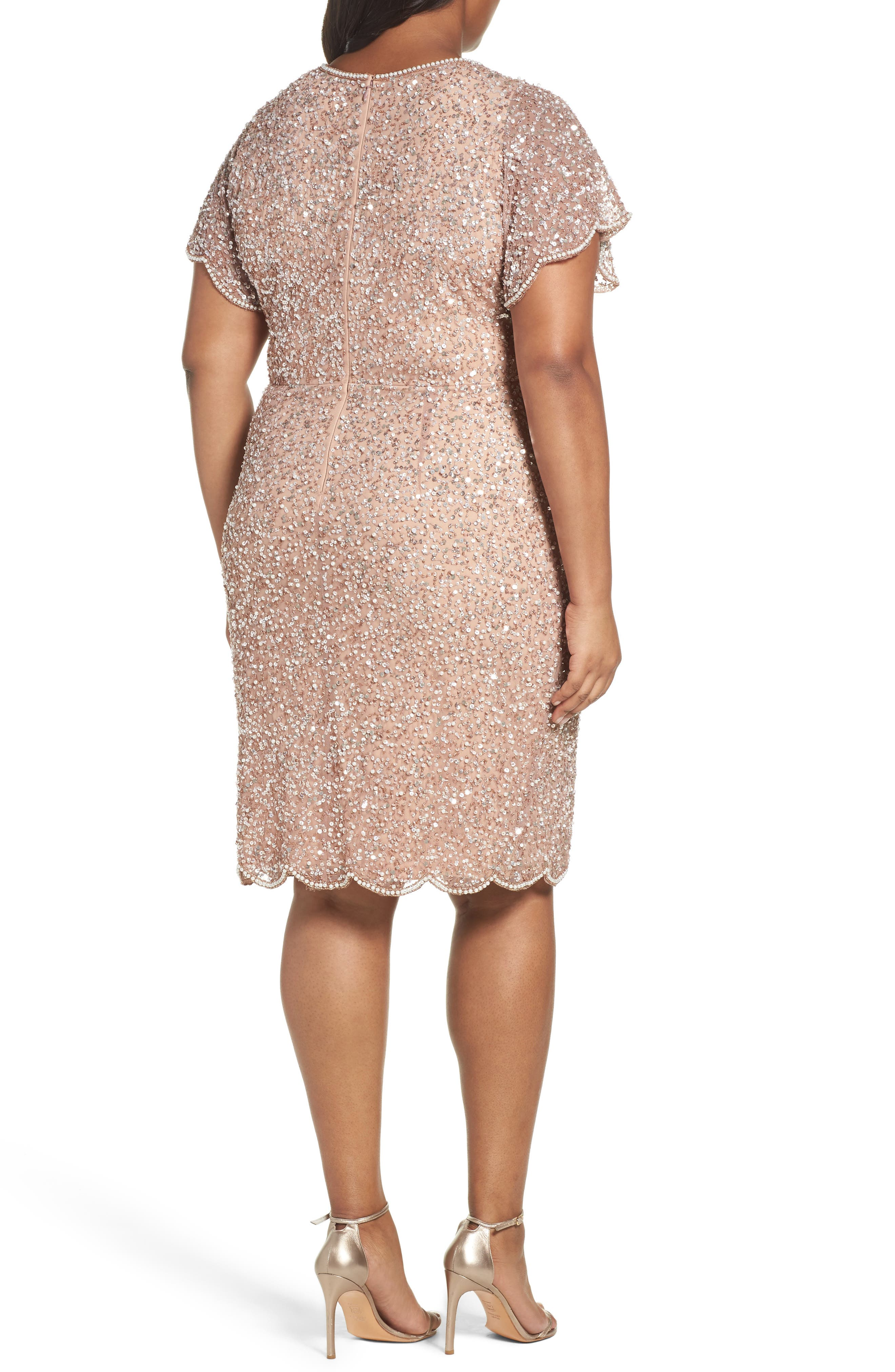 Alternate Image 2  - Adrianna Papell Beaded Flutter Sleeve Sheath Dress (Plus Size)