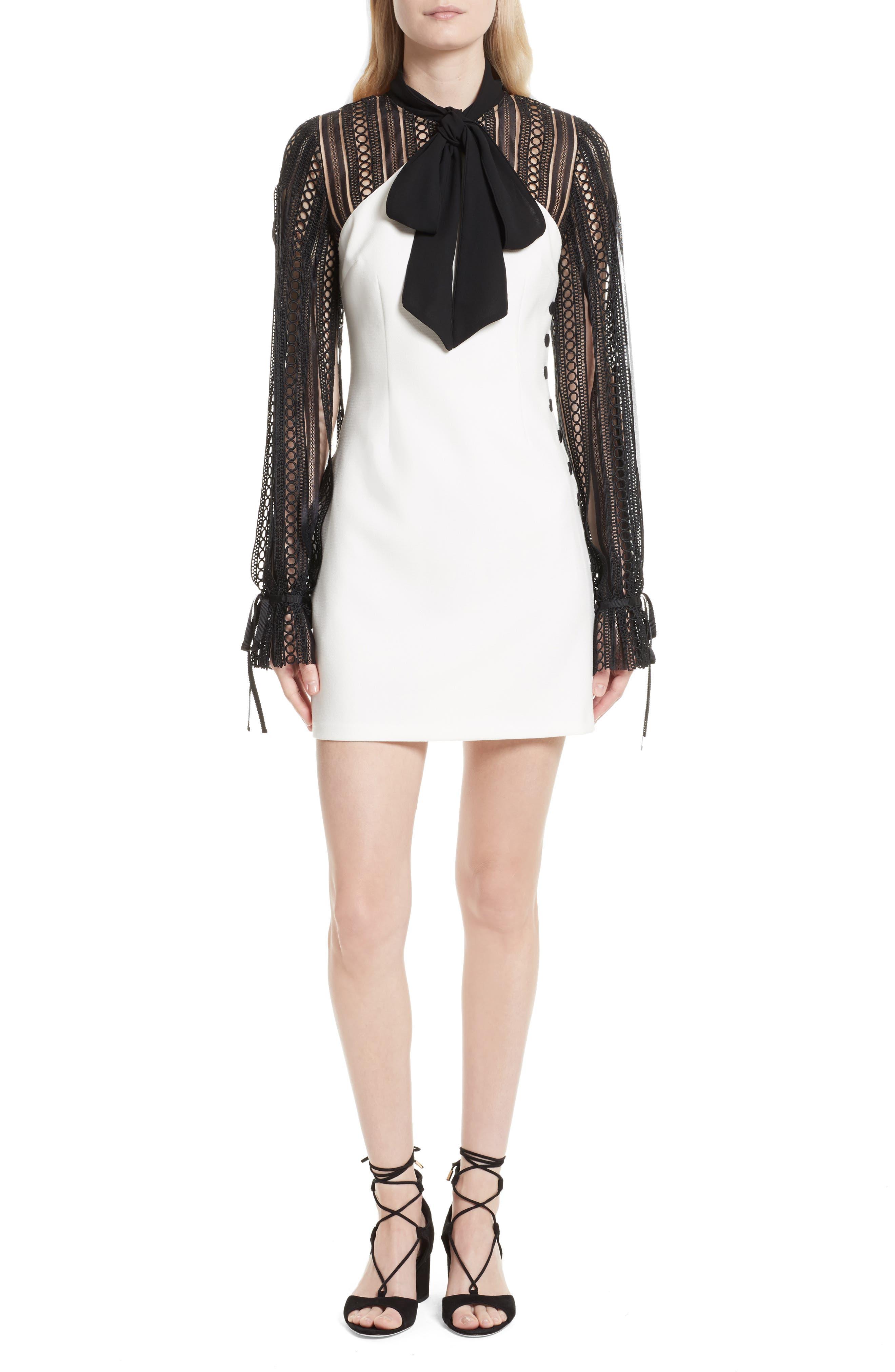 Lace Sleeve Minidress,                         Main,                         color, Black/ White