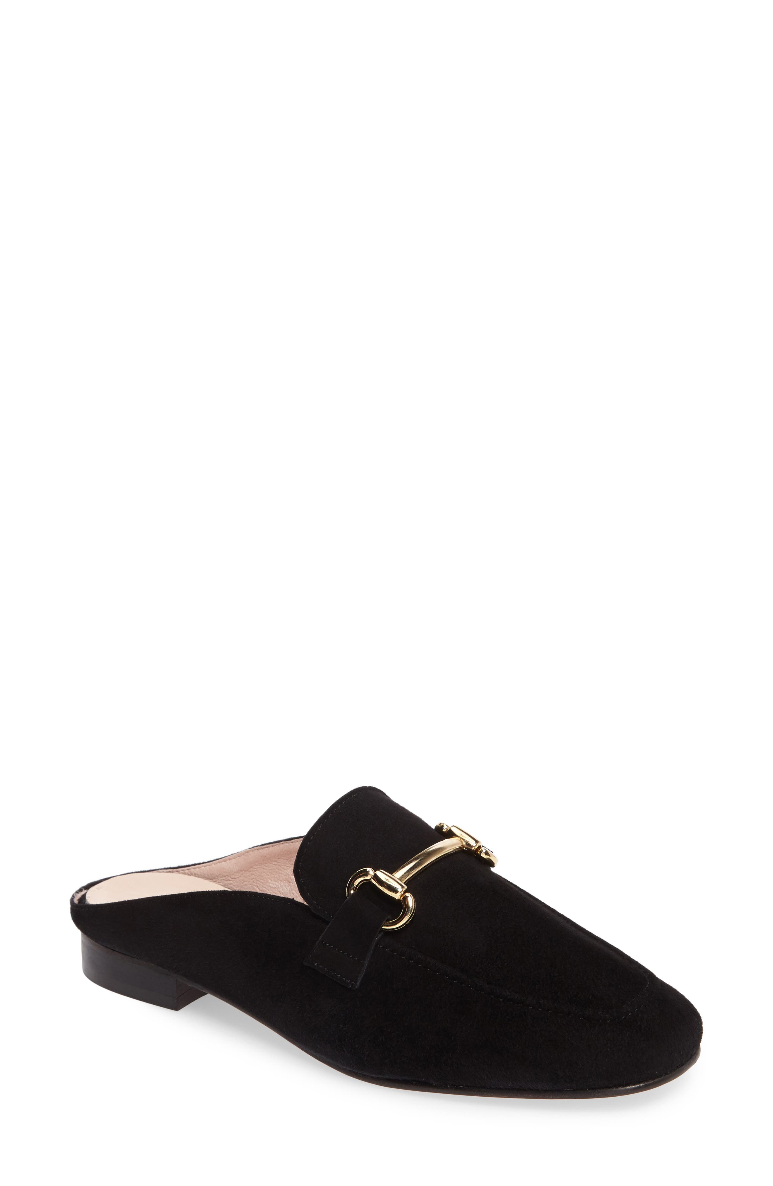 Sorrento Loafer Mule,                             Main thumbnail 1, color,                             Black Suede