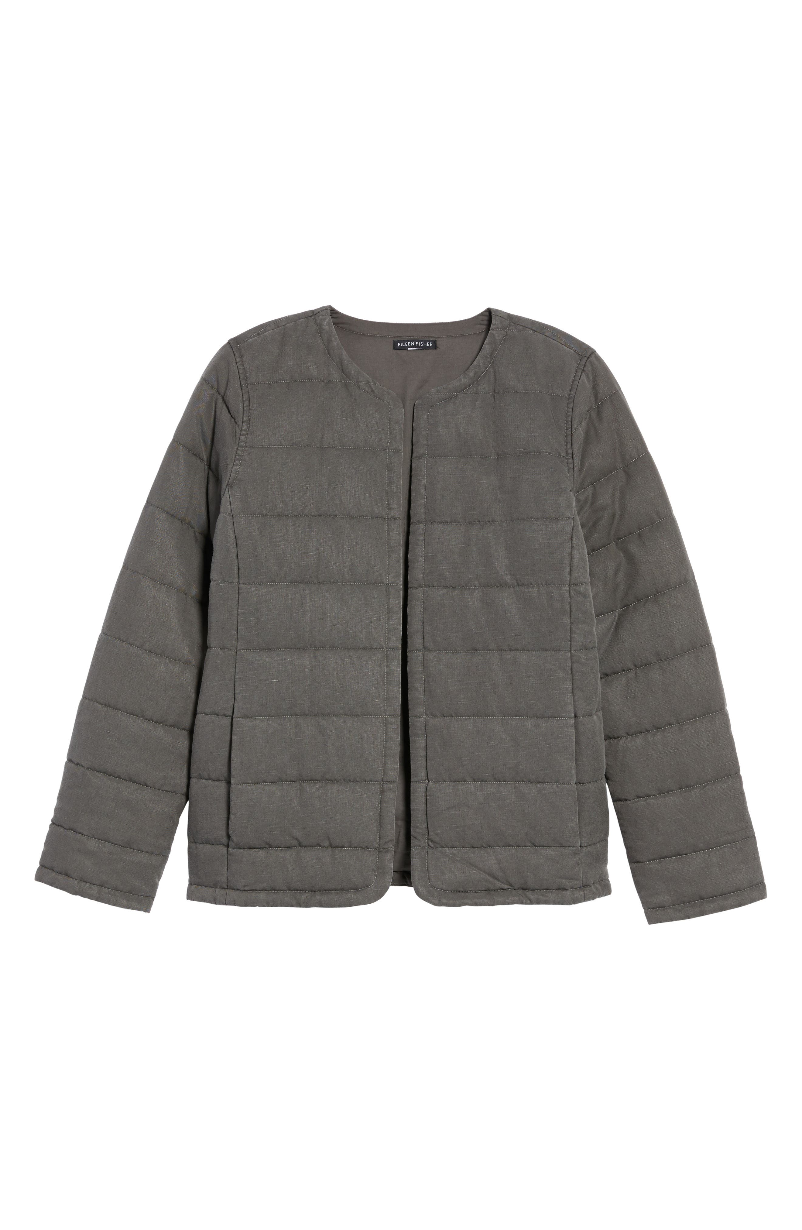 Collarless Quilted Jacket,                             Alternate thumbnail 6, color,                             Bark