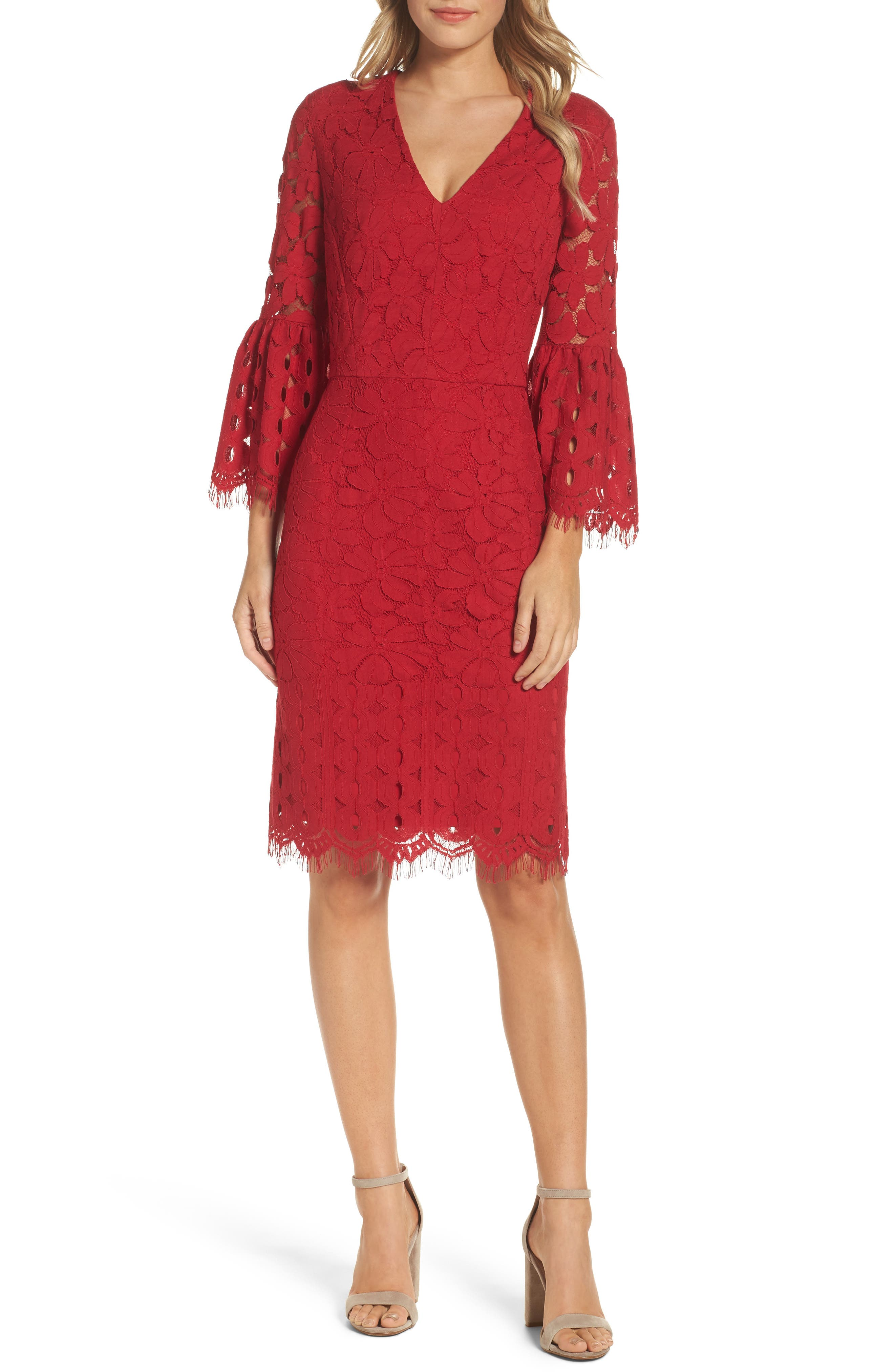 Maggy London Lace Bell Sleeve Dress