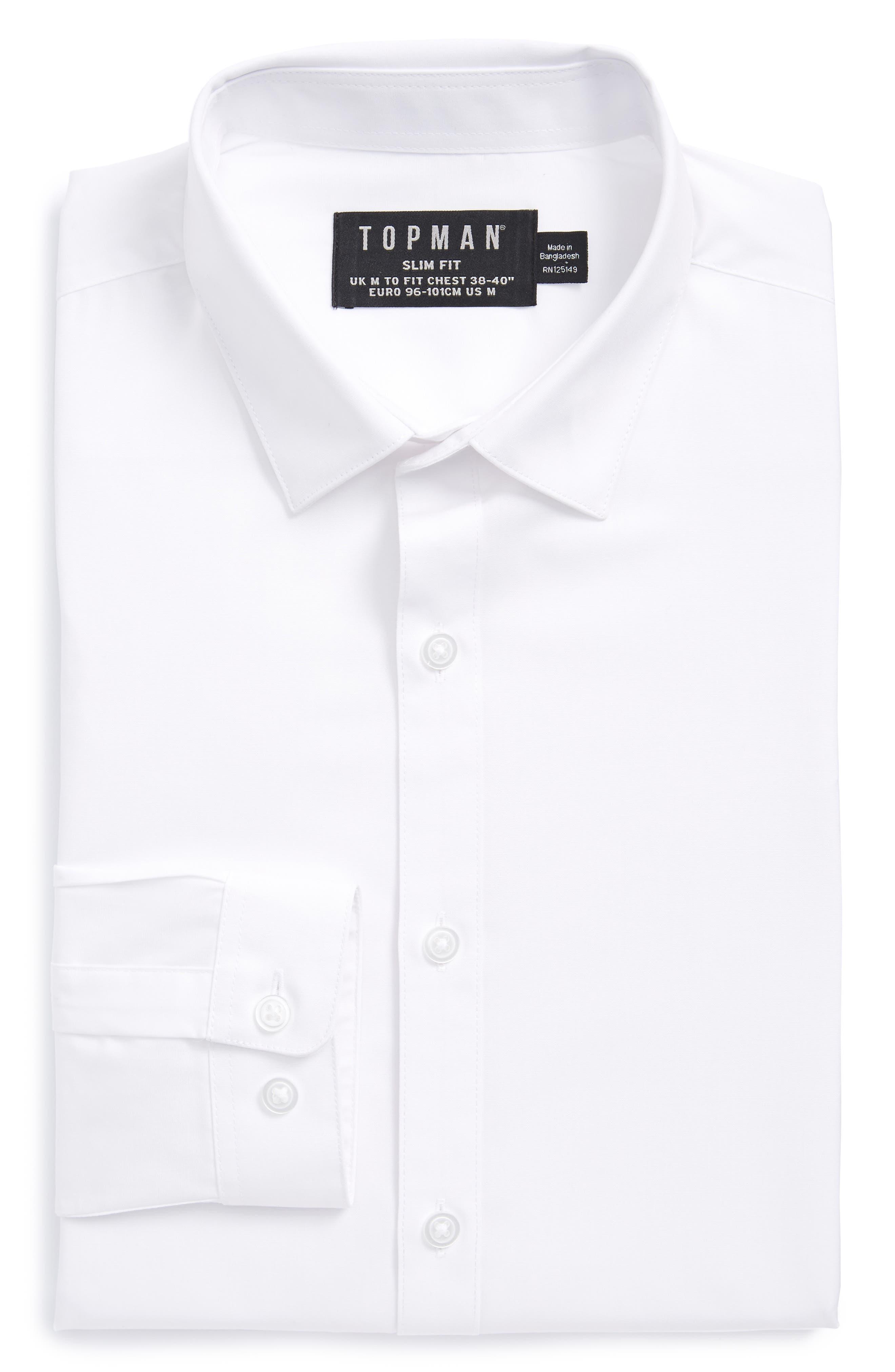 Slim Fit Dress Shirt,                             Main thumbnail 1, color,                             White