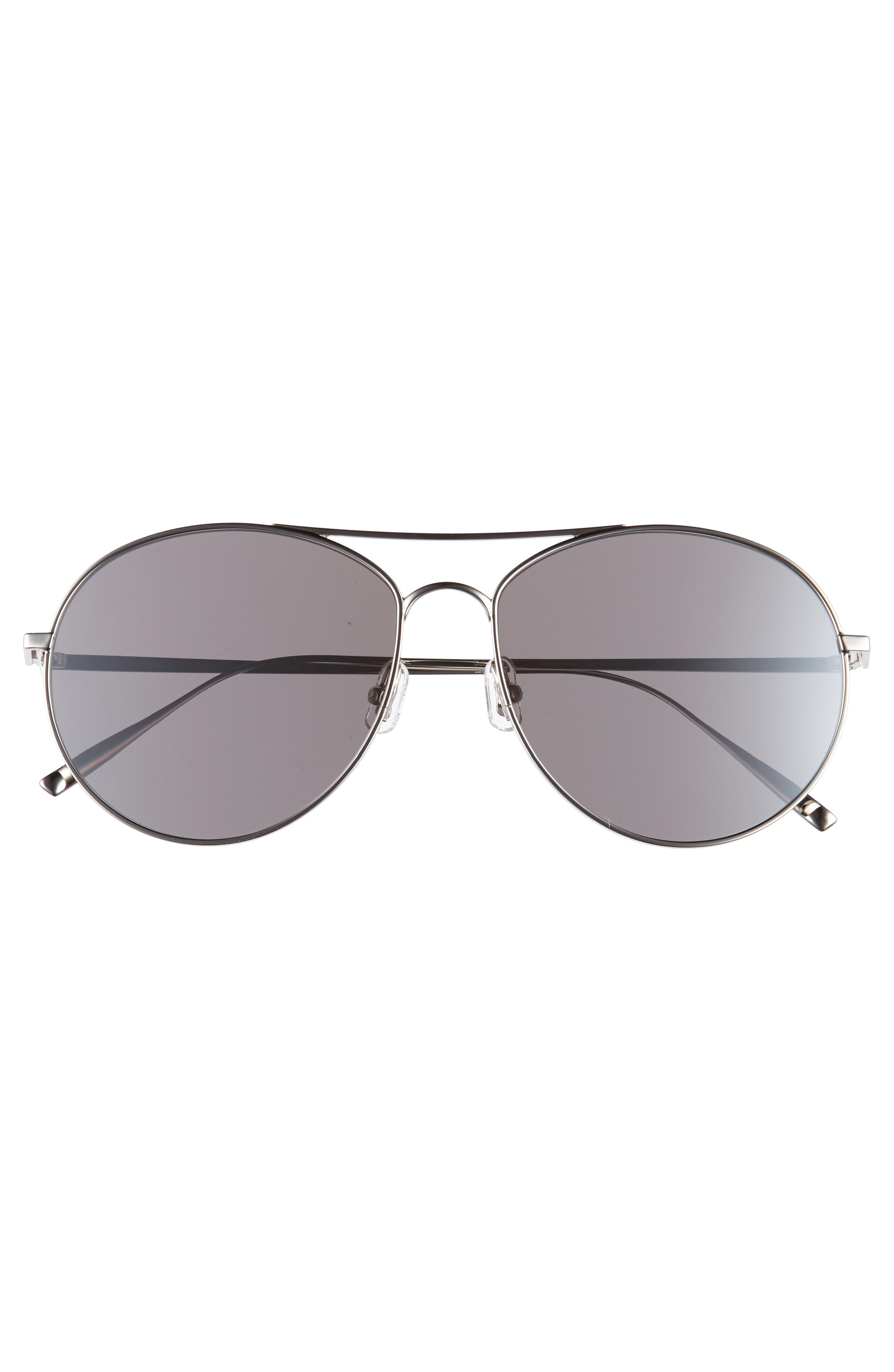 Ranny Ring 58mm Aviator Sunglasses,                             Alternate thumbnail 3, color,                             Silver Mirror