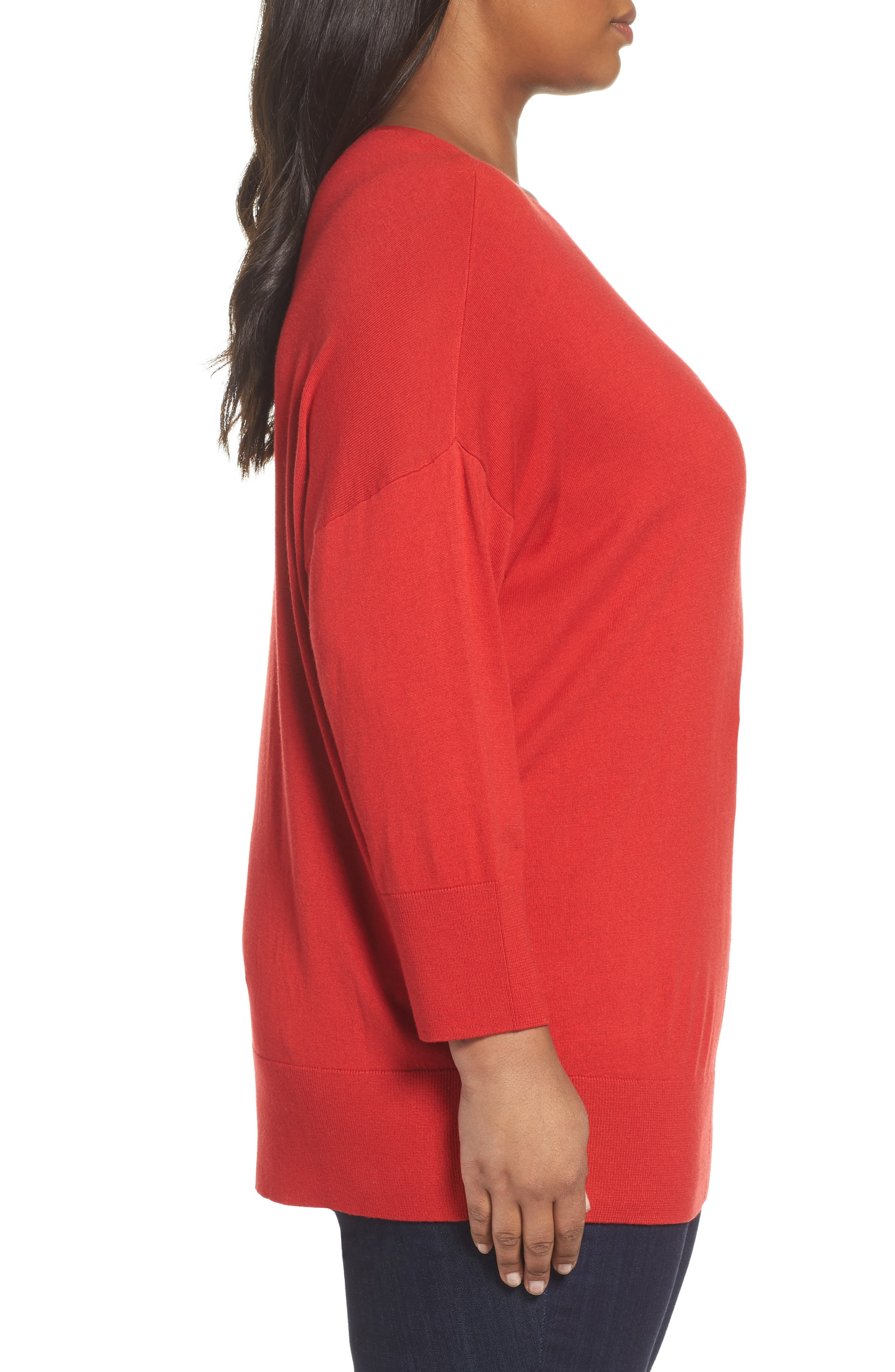 Dolman Sleeve Sweater,                             Alternate thumbnail 3, color,                             Red Samba