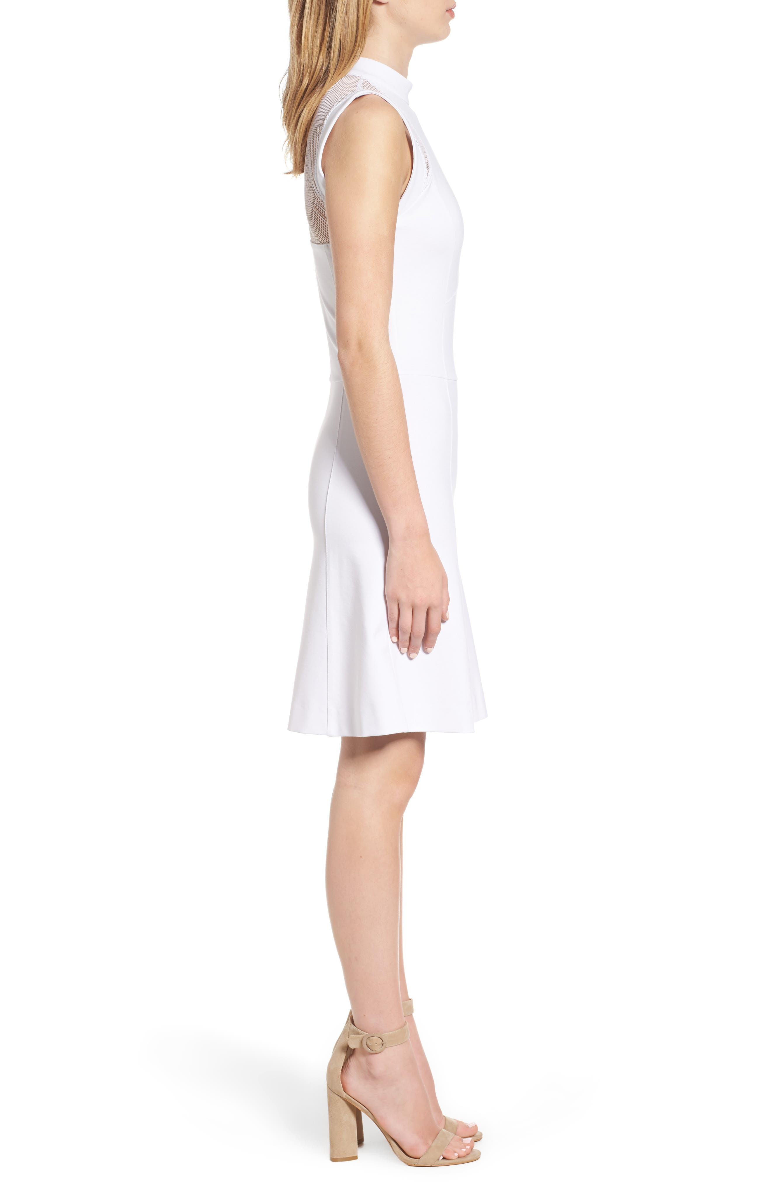 Galactica Fit & Flare Dress,                             Alternate thumbnail 3, color,                             White