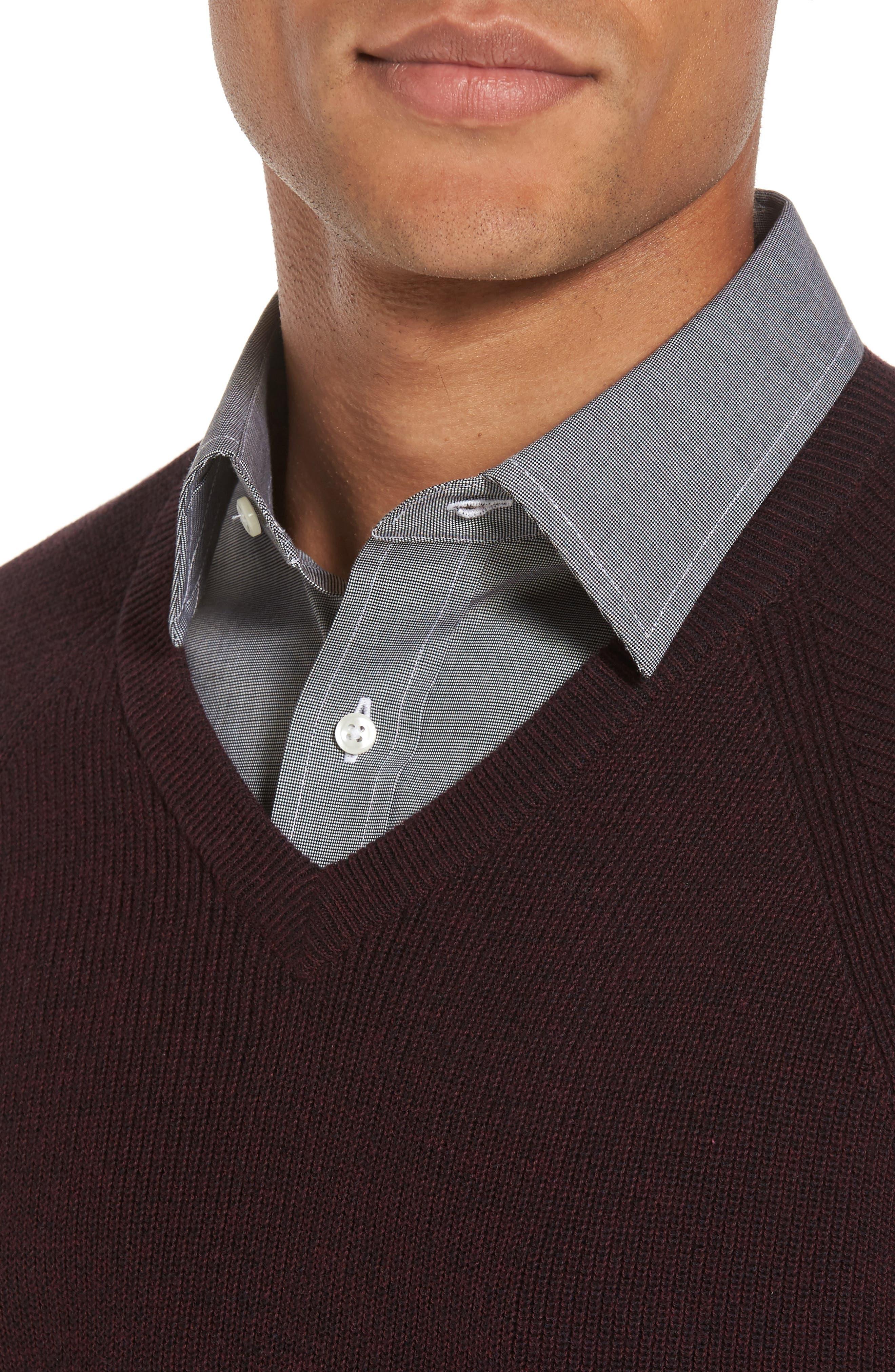 Alternate Image 4  - Nordstrom Men's Shop Supima® Cotton V-Neck Sweater