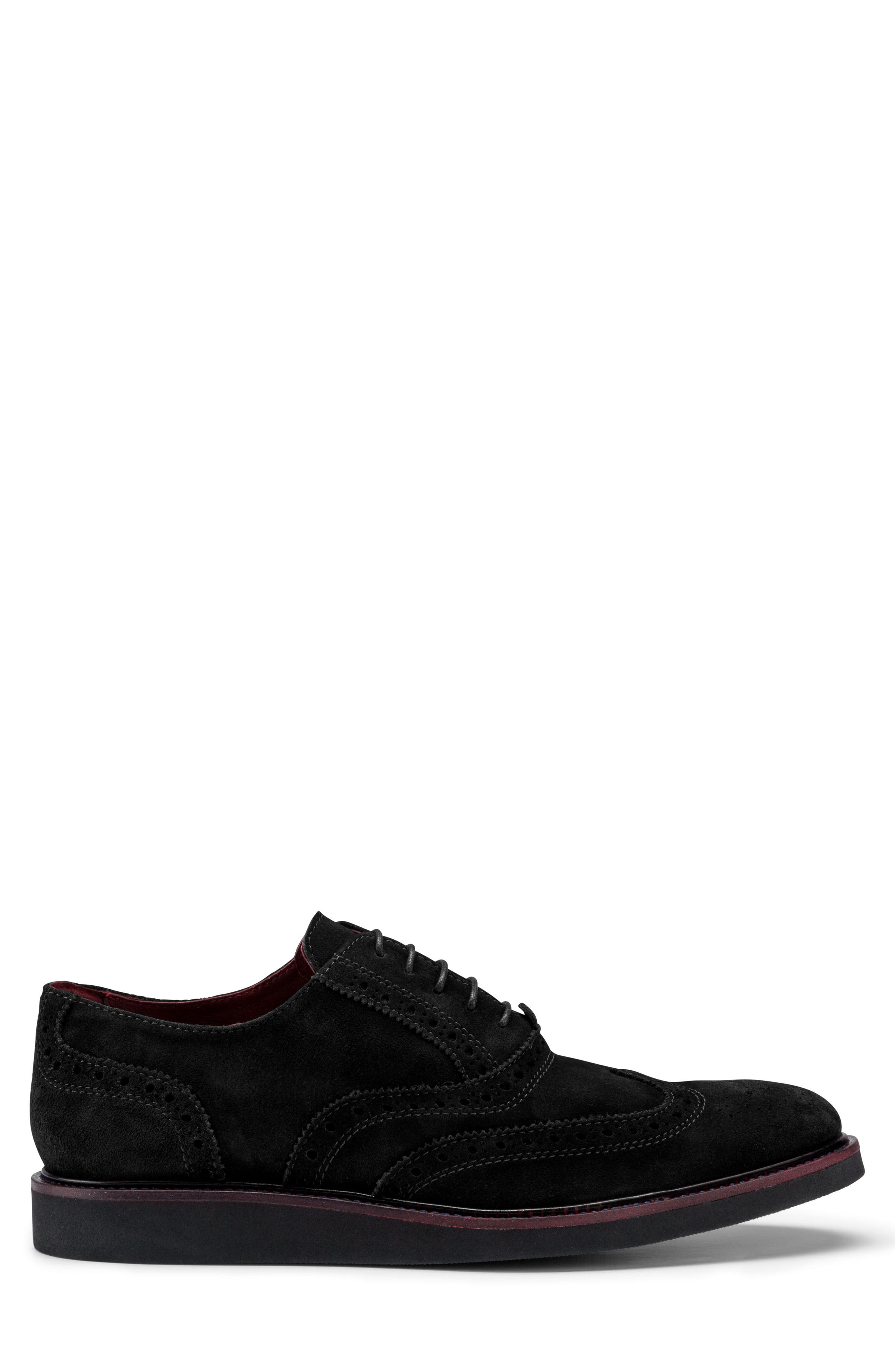 Siena Wingtip,                             Alternate thumbnail 3, color,                             Nero Suede