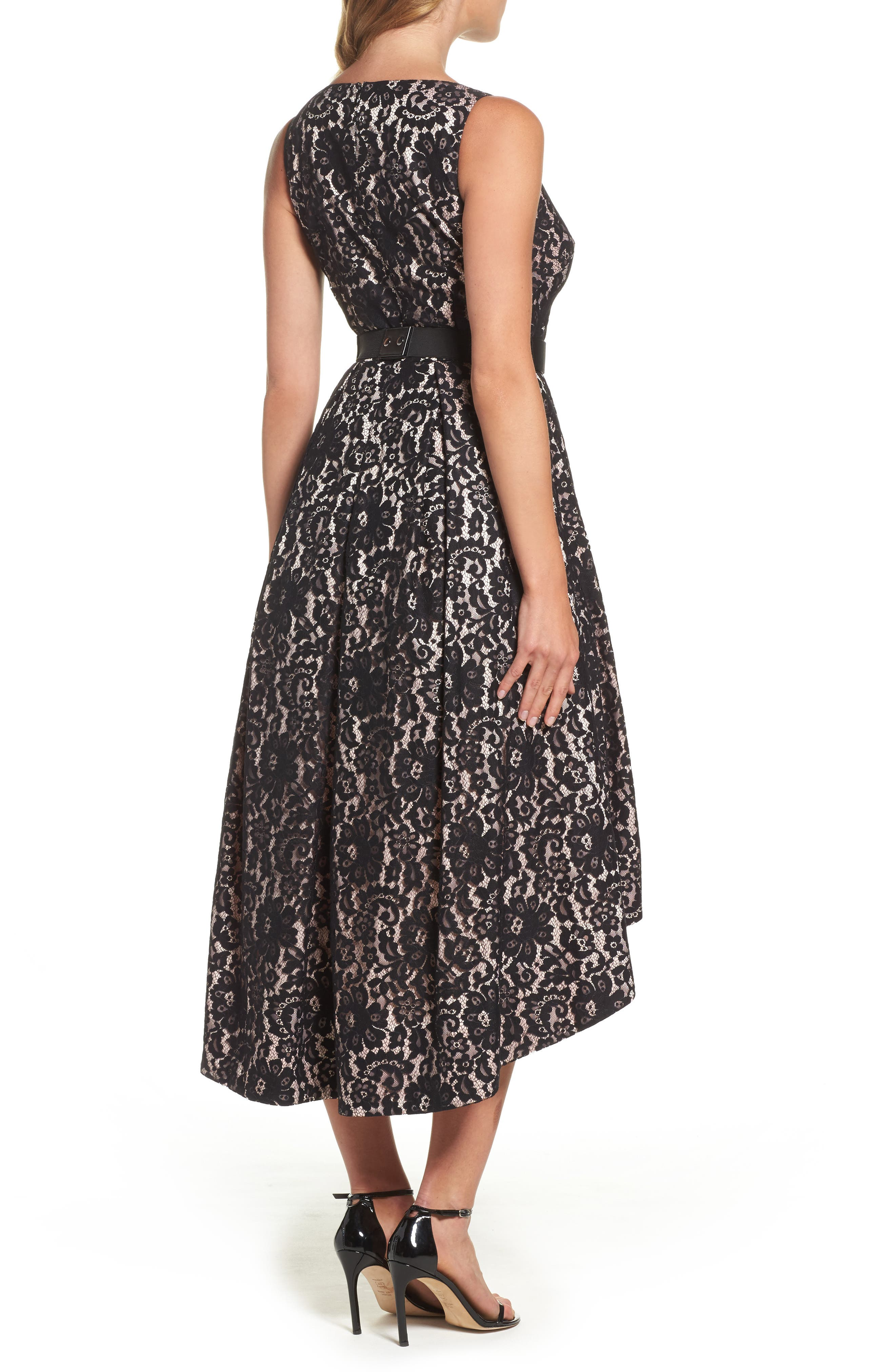 Belted Lace High/Low Dress,                             Alternate thumbnail 2, color,                             Black/ Blush
