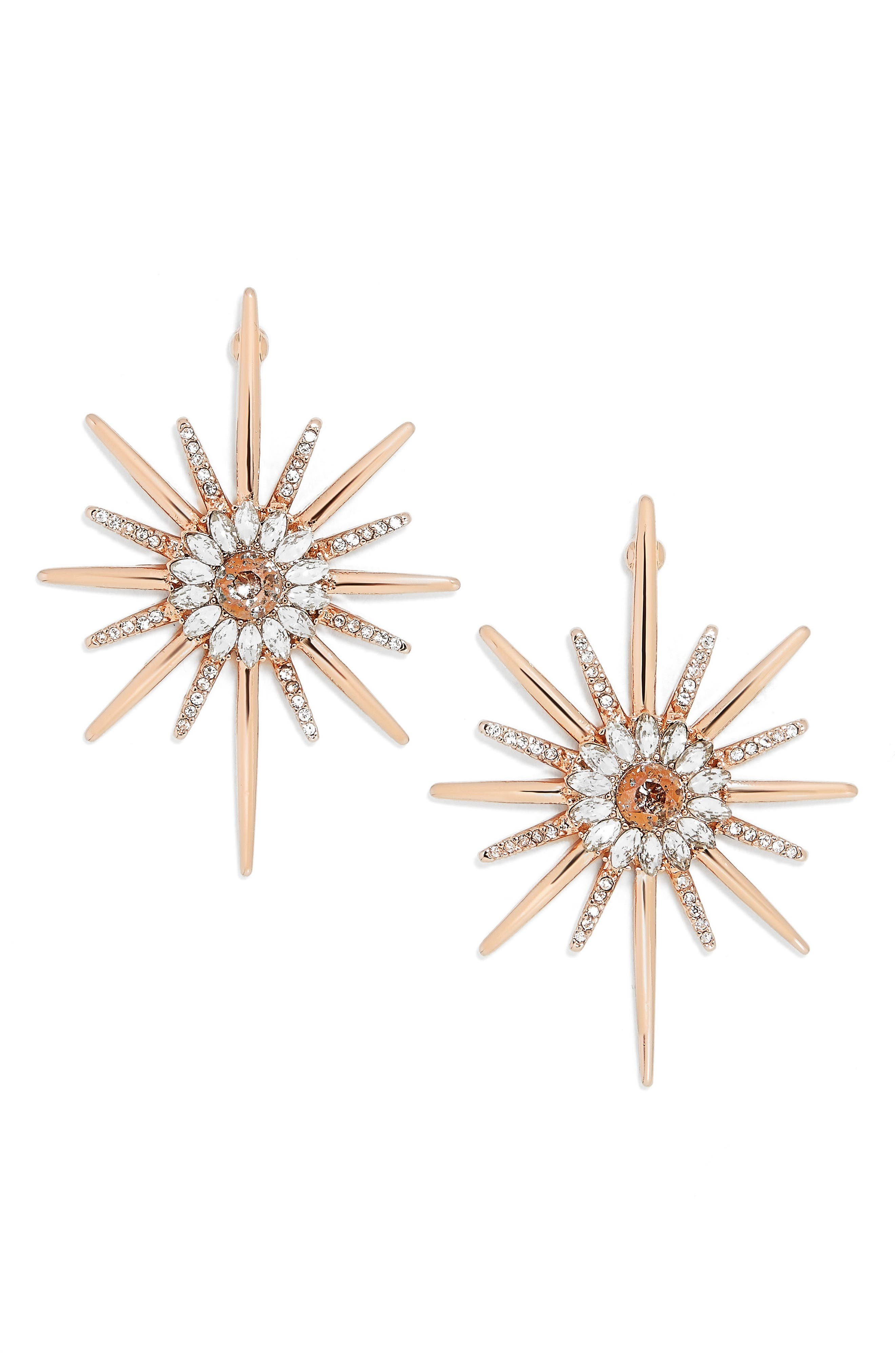 Crystal Earrings,                         Main,                         color, Rose Gold