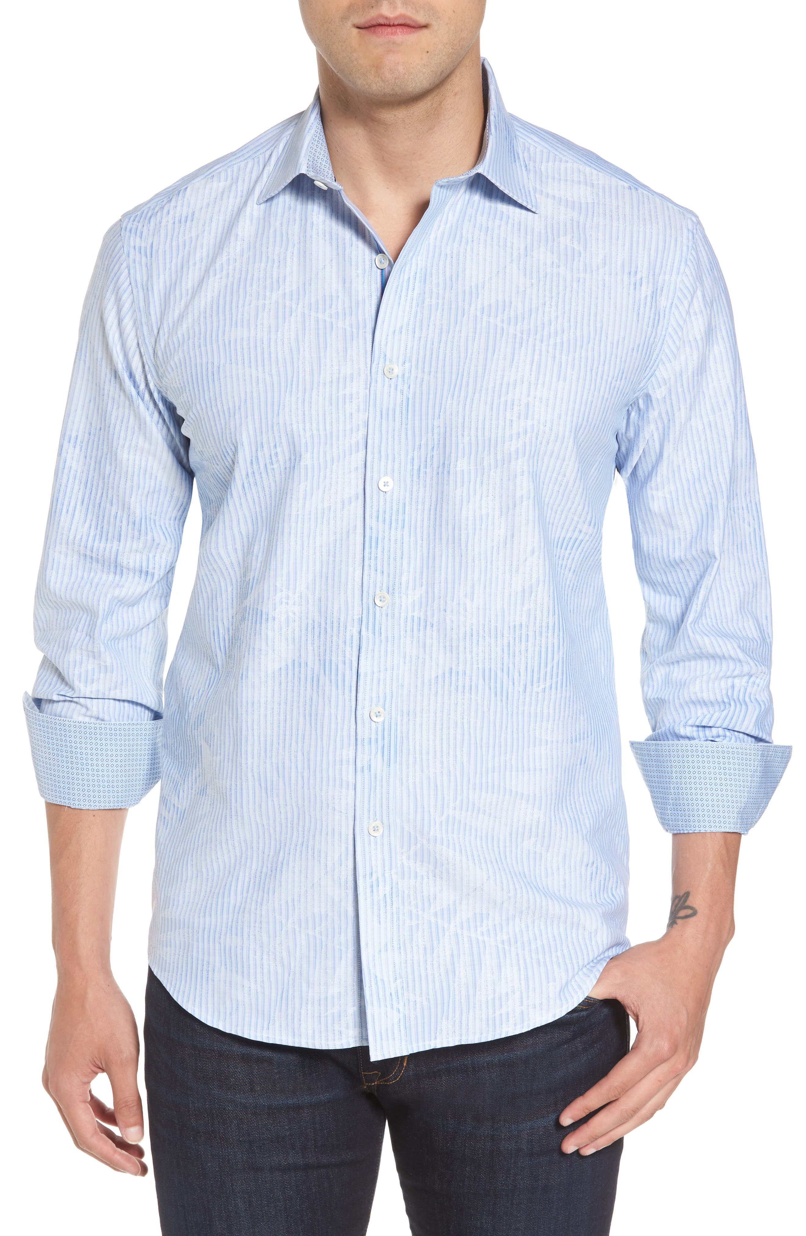 Alternate Image 2  - Bugatchi Shaped Fit Floral Stripe Sport Shirt