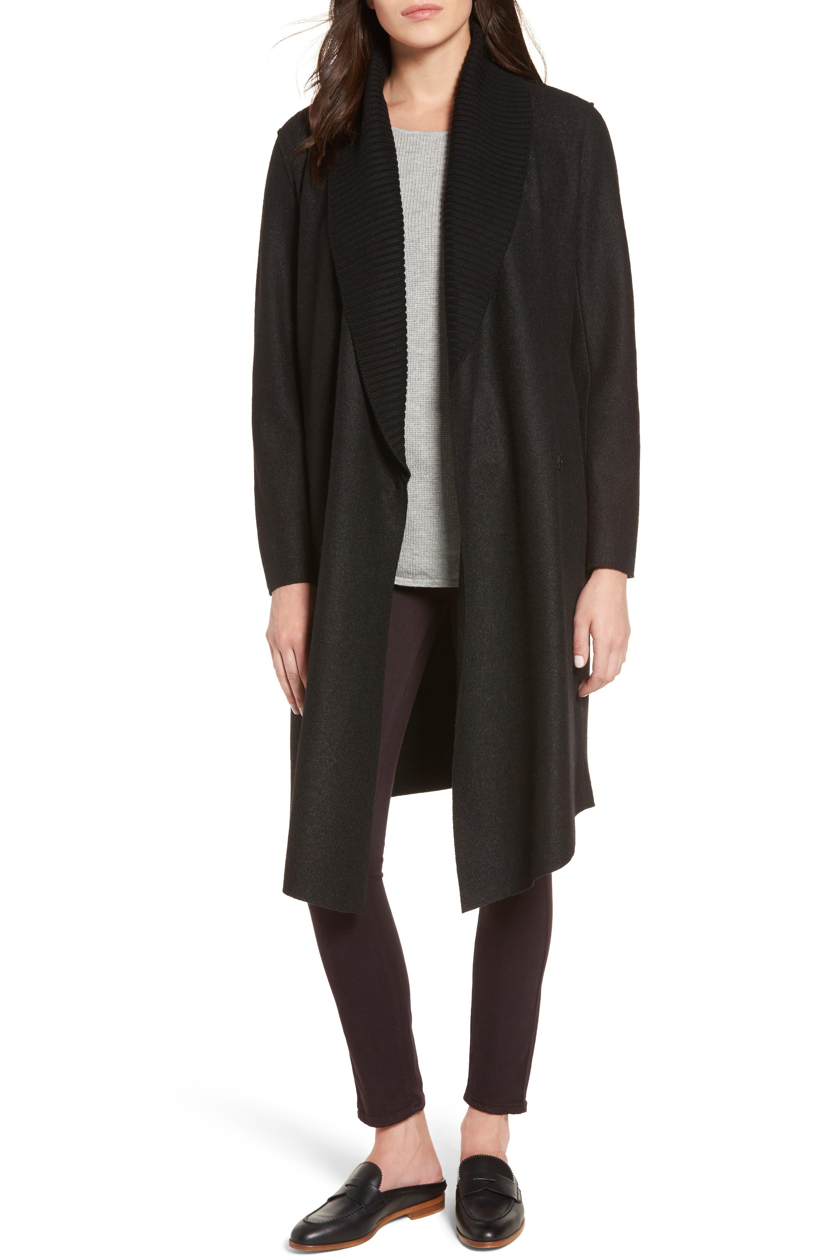 Emily Boiled Wool Blend Duster Coat,                         Main,                         color, Black