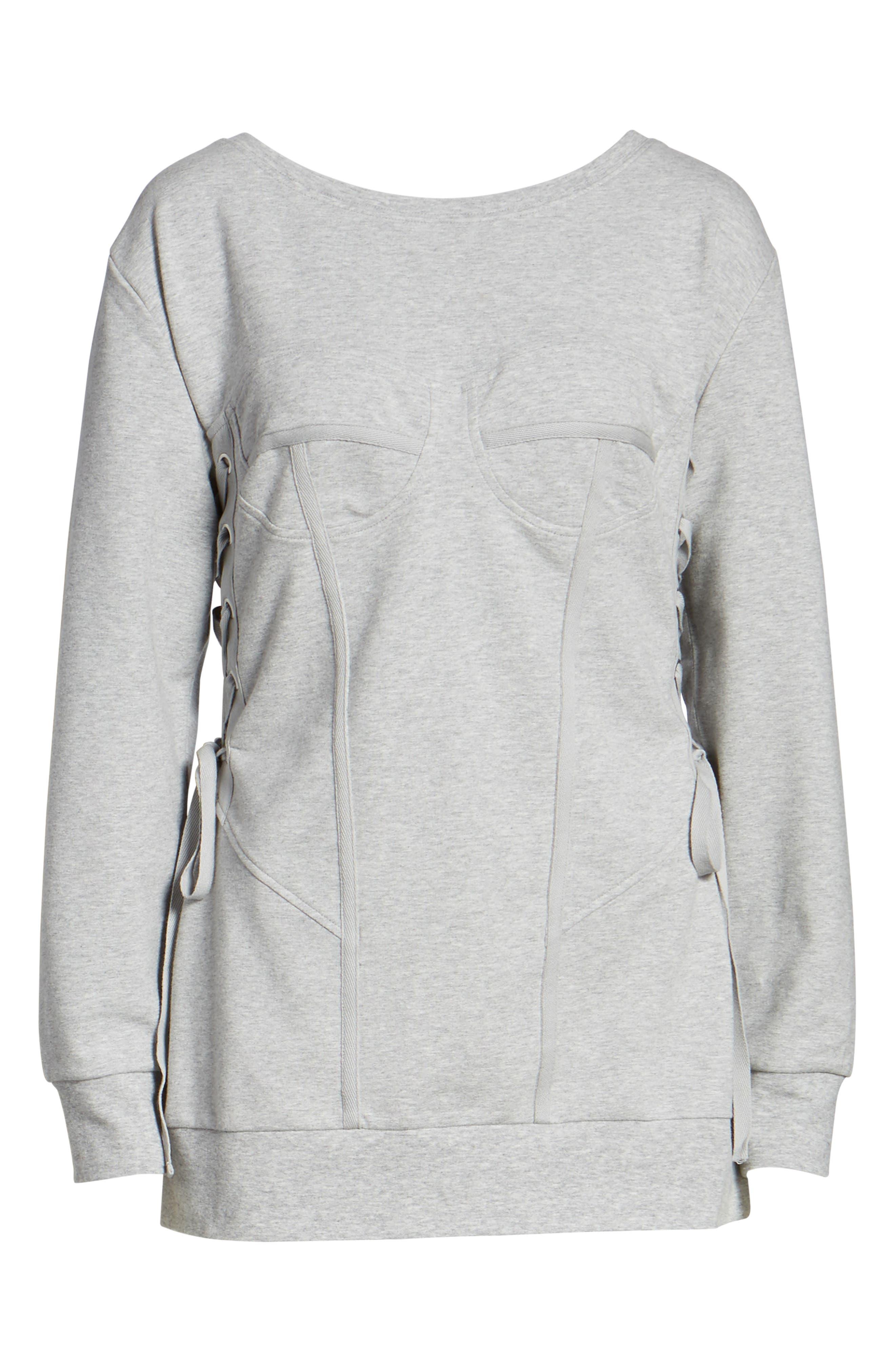 Corset Sweatshirt,                             Alternate thumbnail 6, color,                             Grey Heather