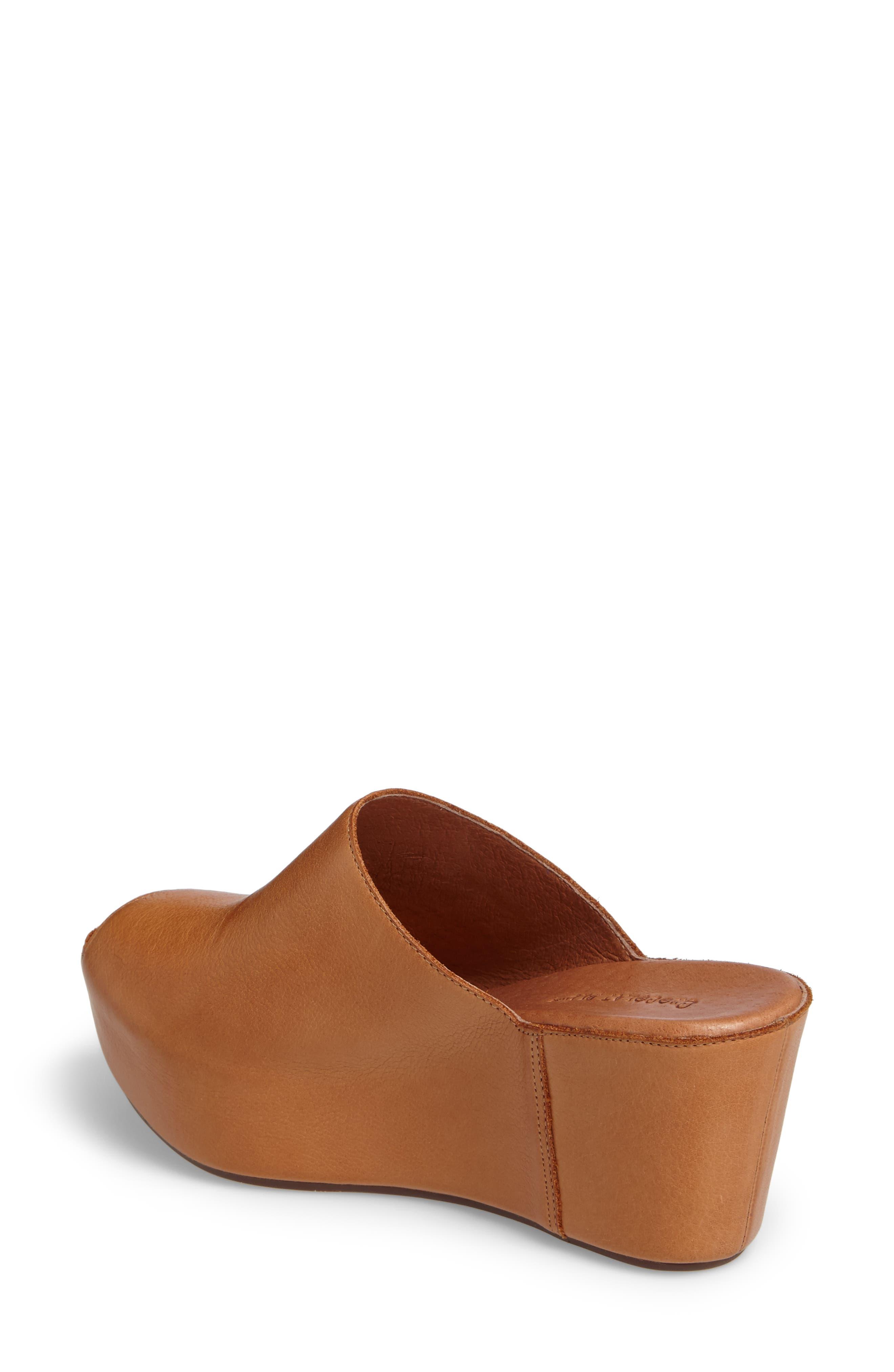 Willa Platform Wedge Mule,                             Alternate thumbnail 2, color,                             Camel Leather
