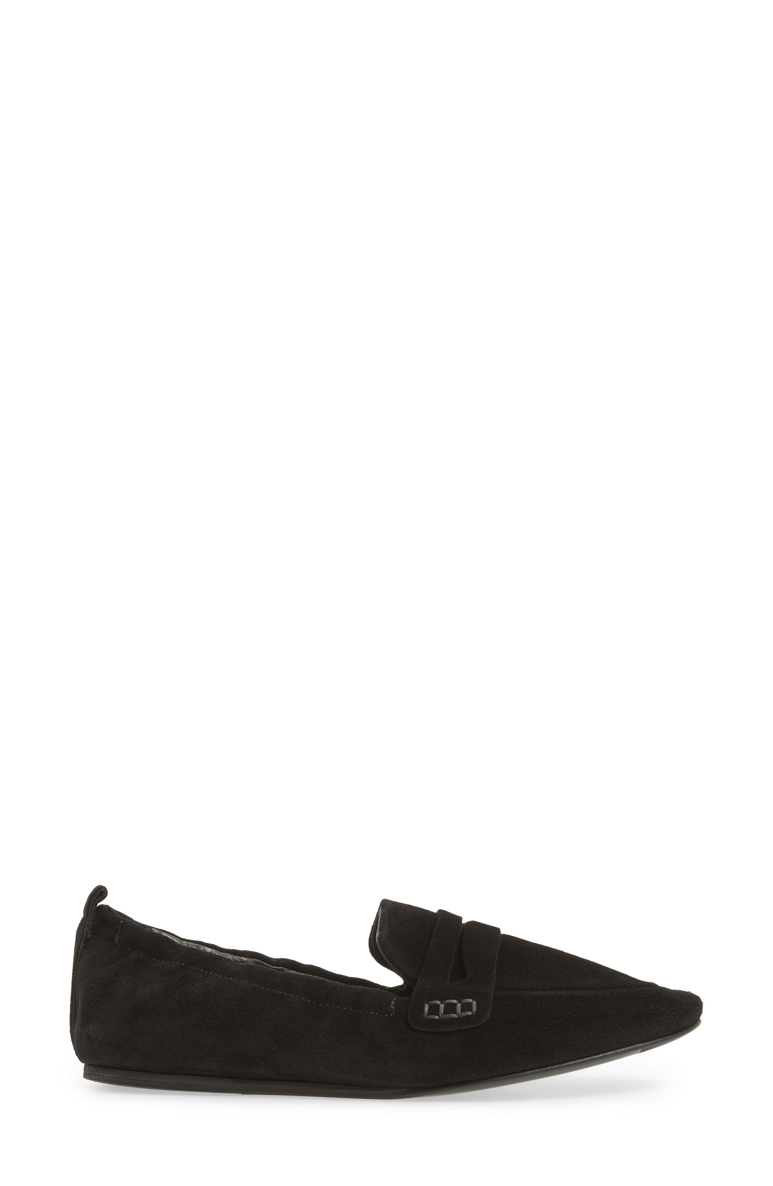 Milly Elastic Loafer Flat,                             Alternate thumbnail 3, color,                             Black Suede