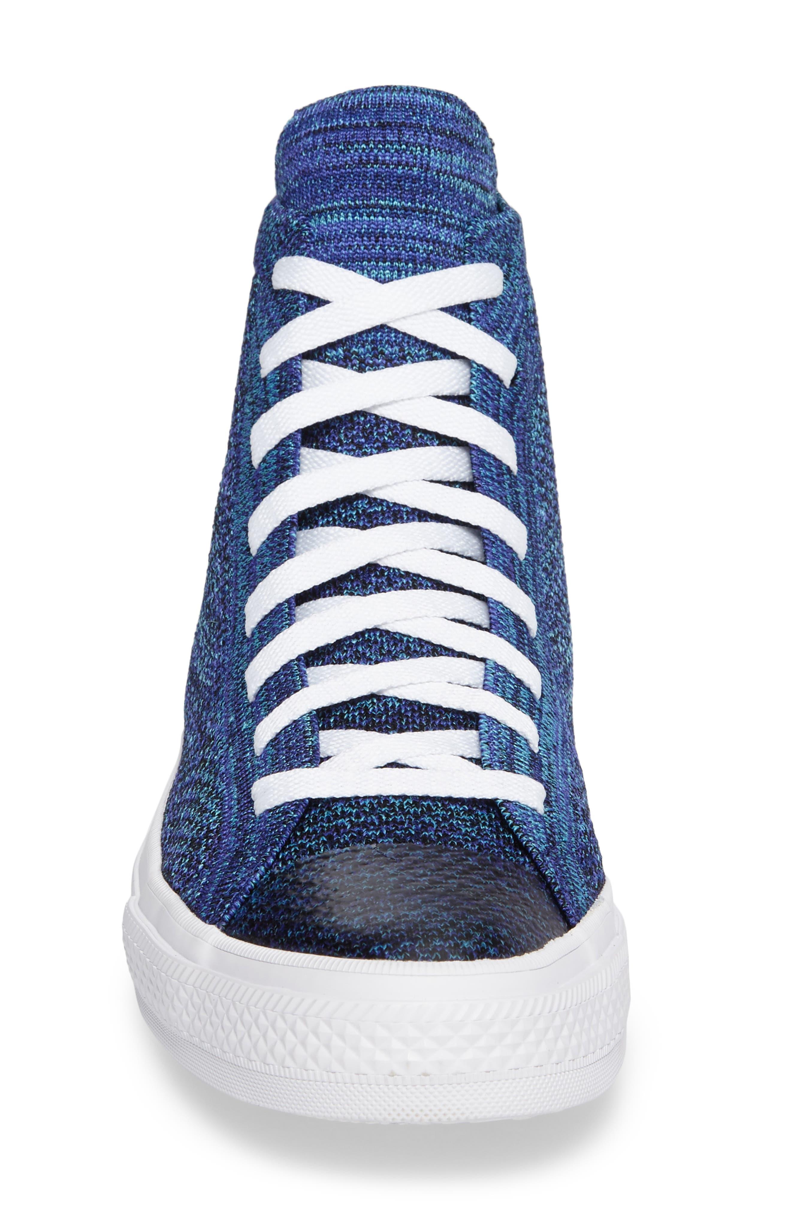 Chuck Taylor<sup>®</sup> All Star<sup>®</sup> Flyknit Hi Sneaker,                             Alternate thumbnail 4, color,                             Indigo
