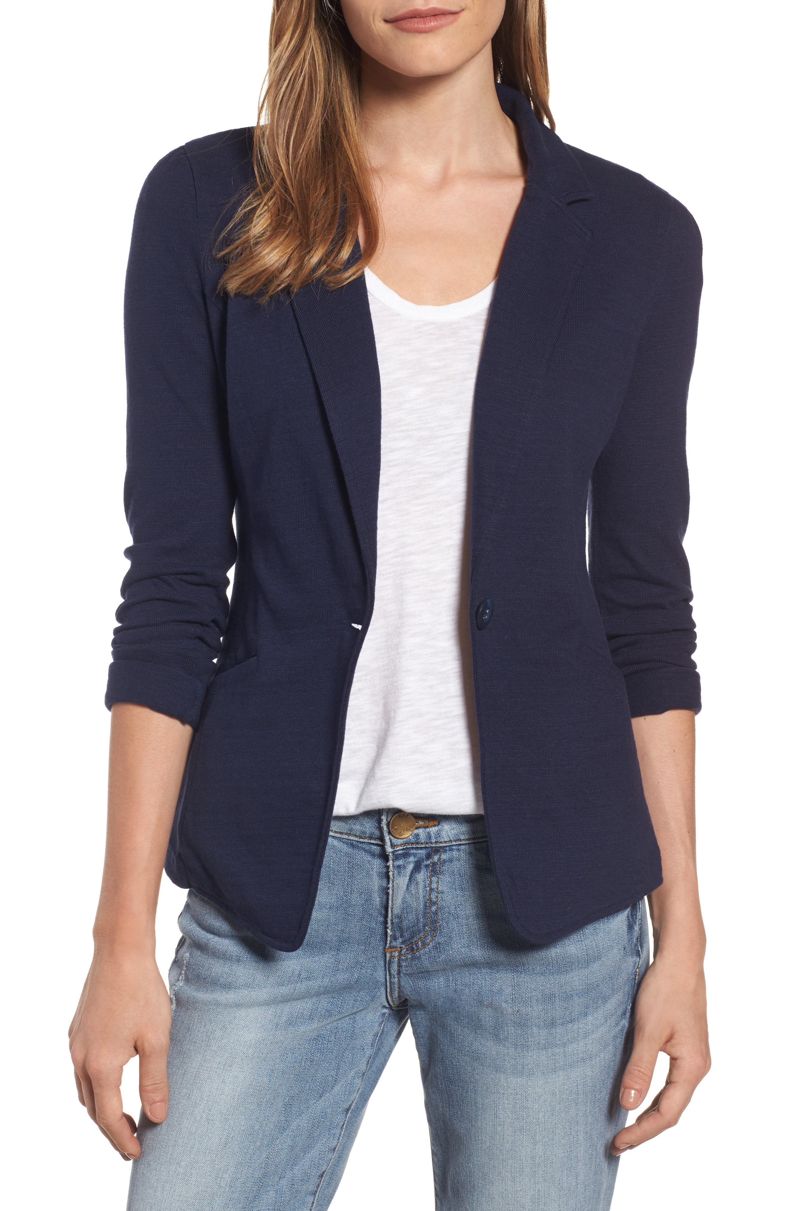 Knit One-Button Blazer,                         Main,                         color, Navy Peacoat