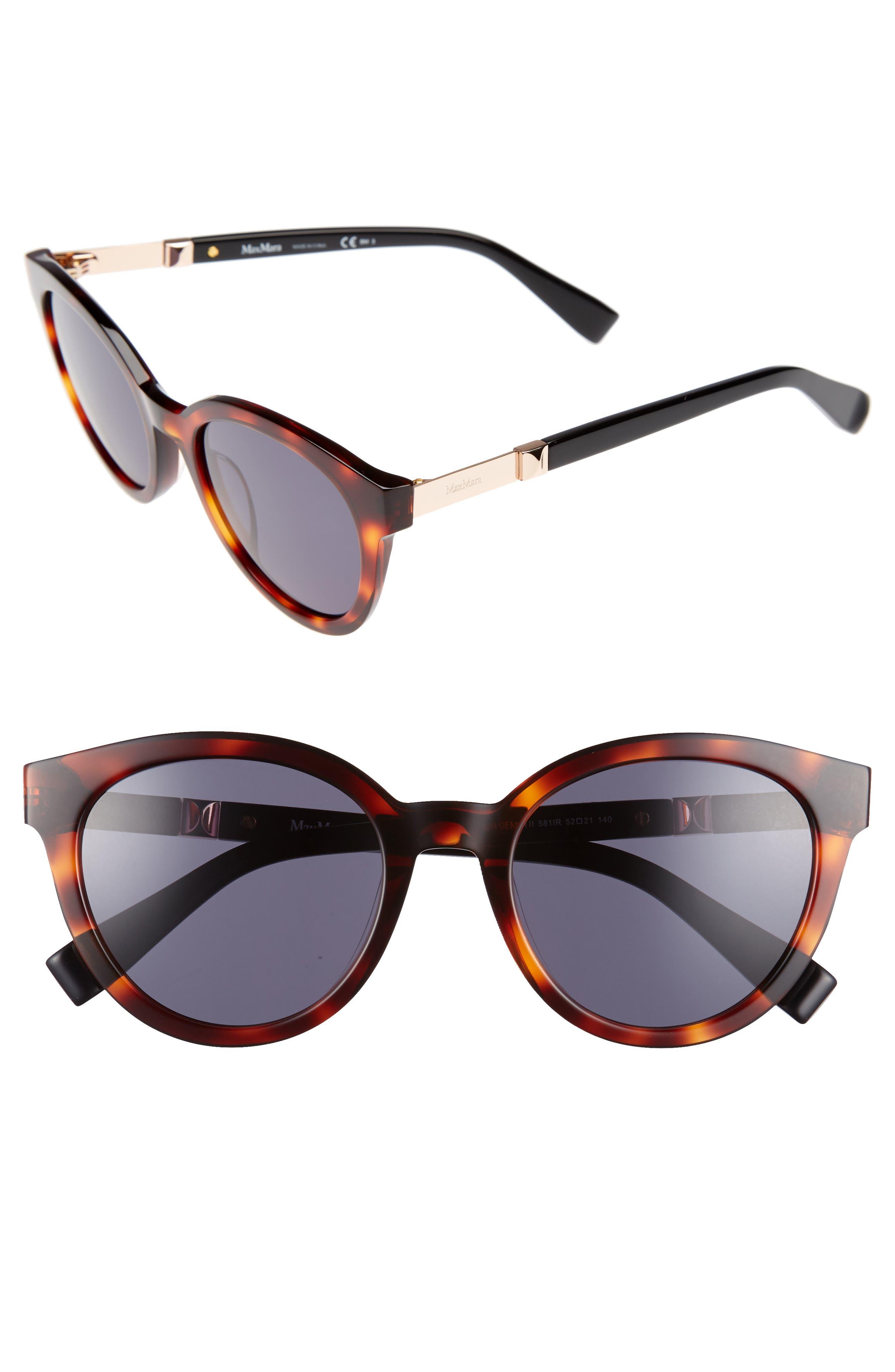 Gemini 52mm Cat Eye Sunglasses,                         Main,                         color, Havana Black