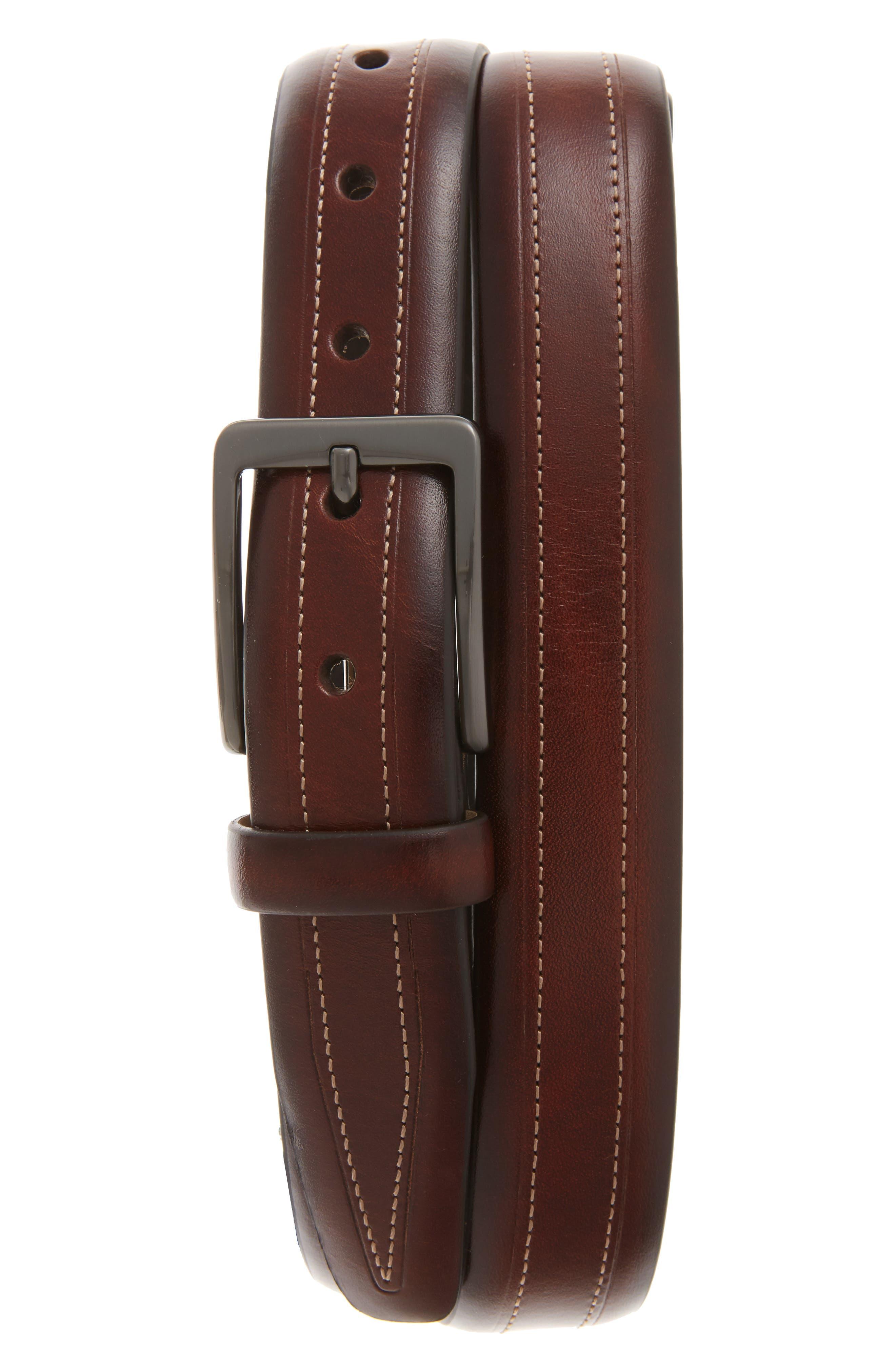 Cortina Leather Belt,                         Main,                         color, Honey Maple