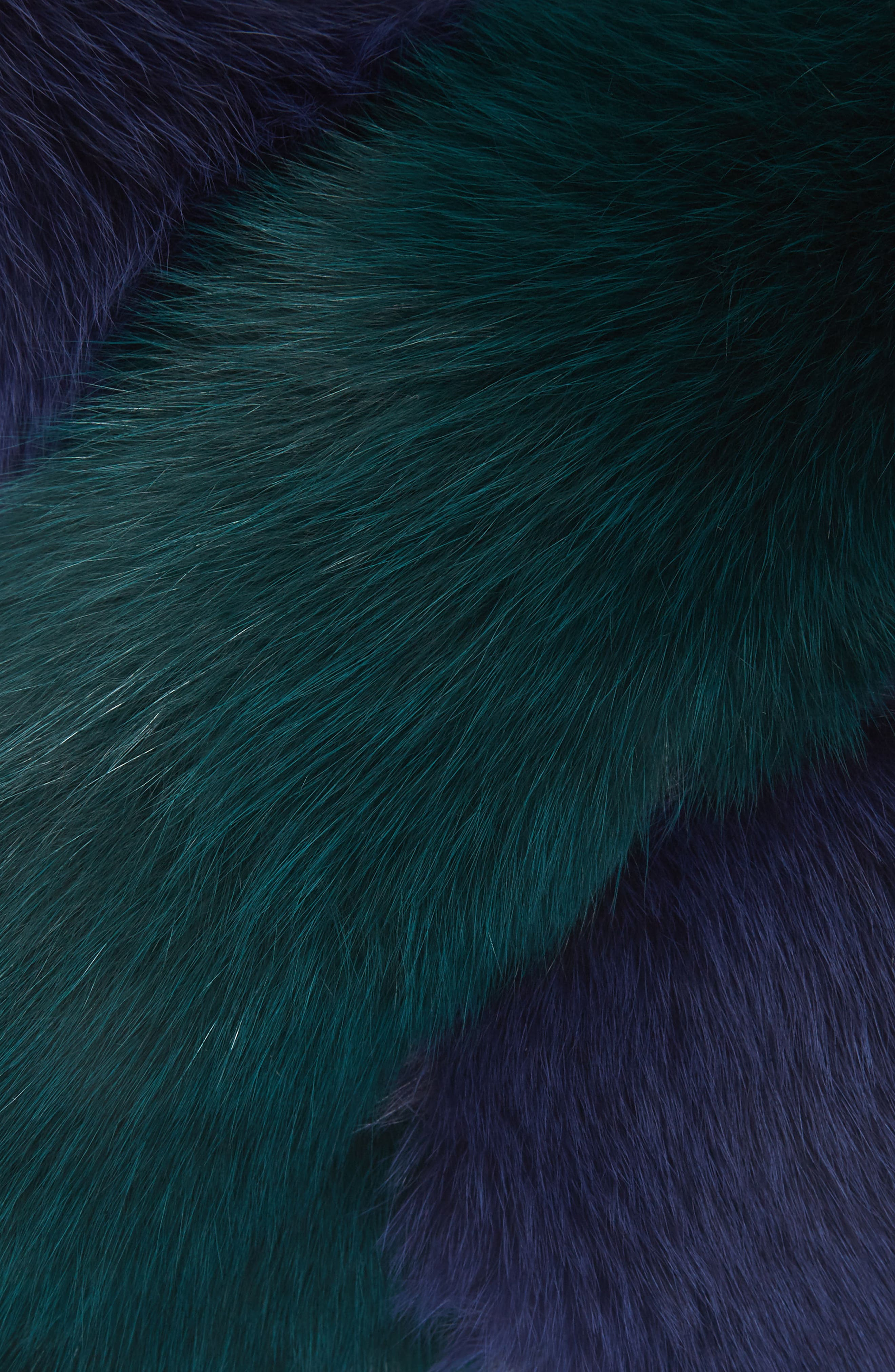 Polly Pop Genuine Fox Fur Scarf,                             Alternate thumbnail 2, color,                             Navy Blue/Green