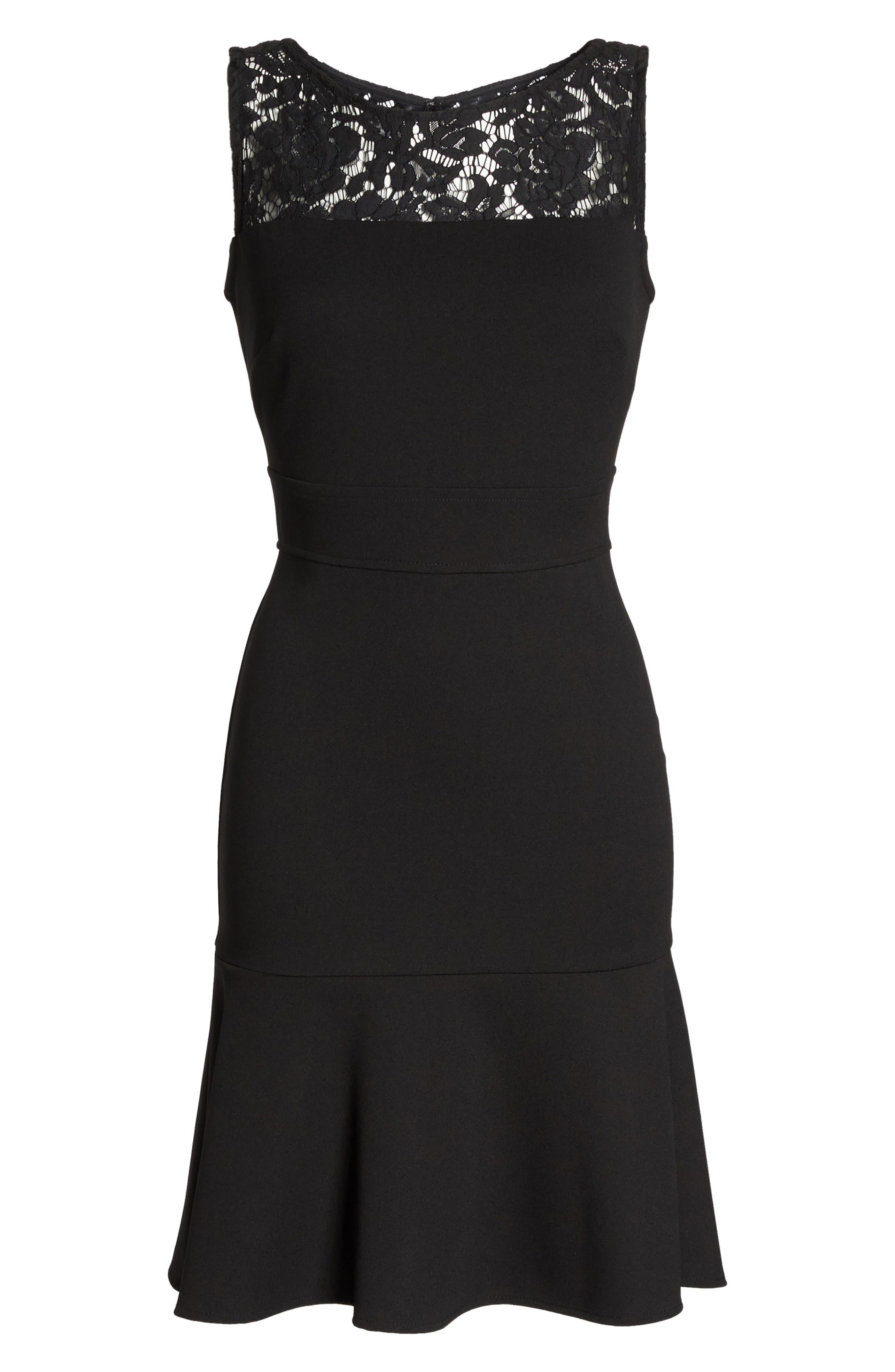 Lace Flounce Dress,                             Alternate thumbnail 6, color,                             Black