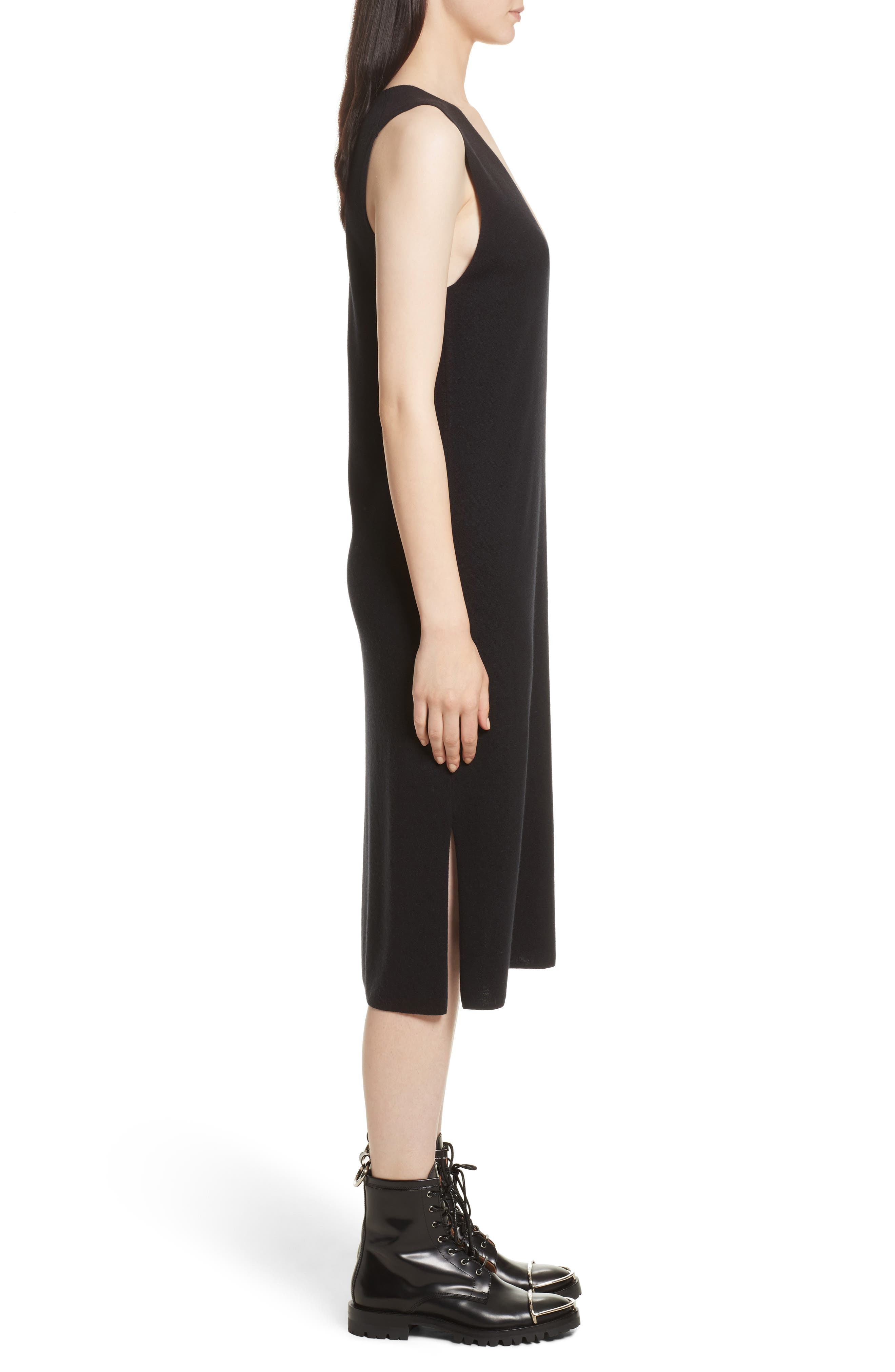 Milano Knit Midi Dress,                             Alternate thumbnail 3, color,                             Black