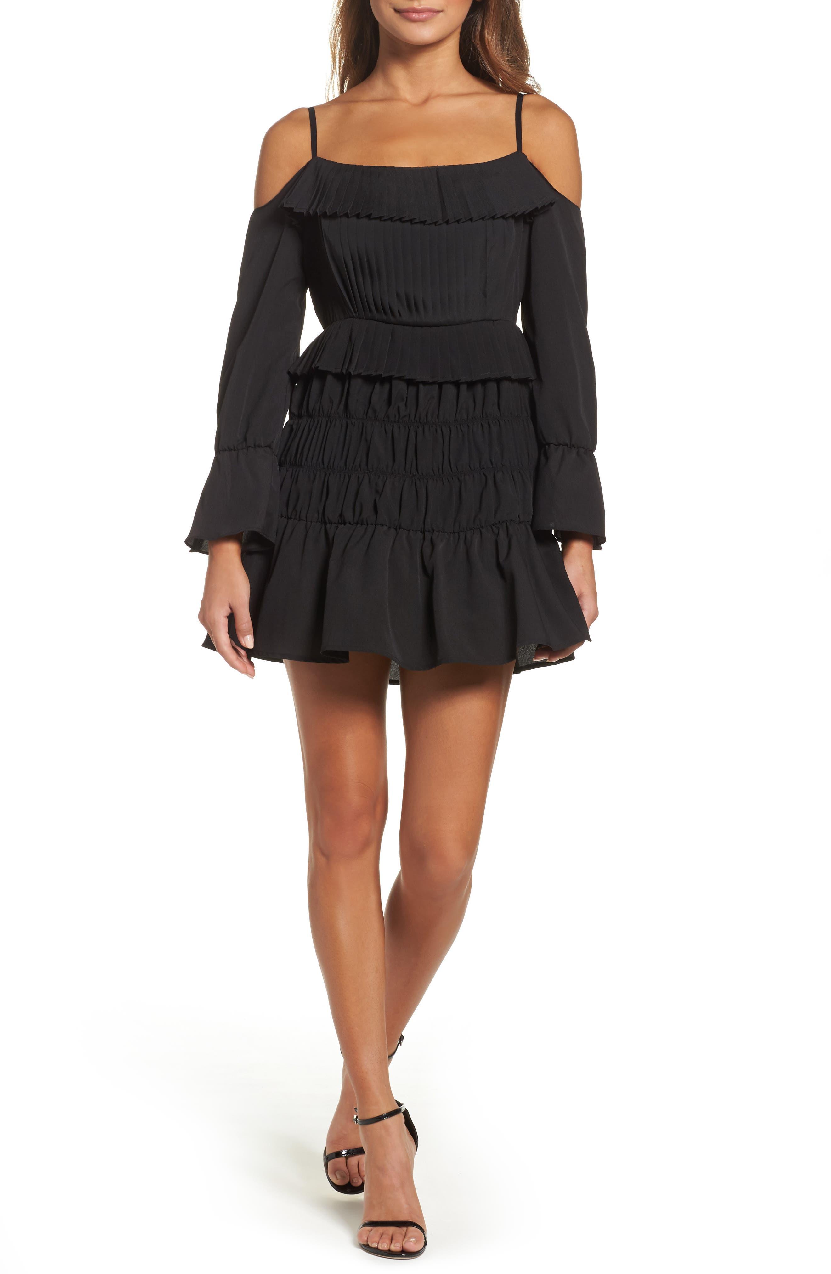 Plissé Off the Shoulder Dress,                             Main thumbnail 1, color,                             Black