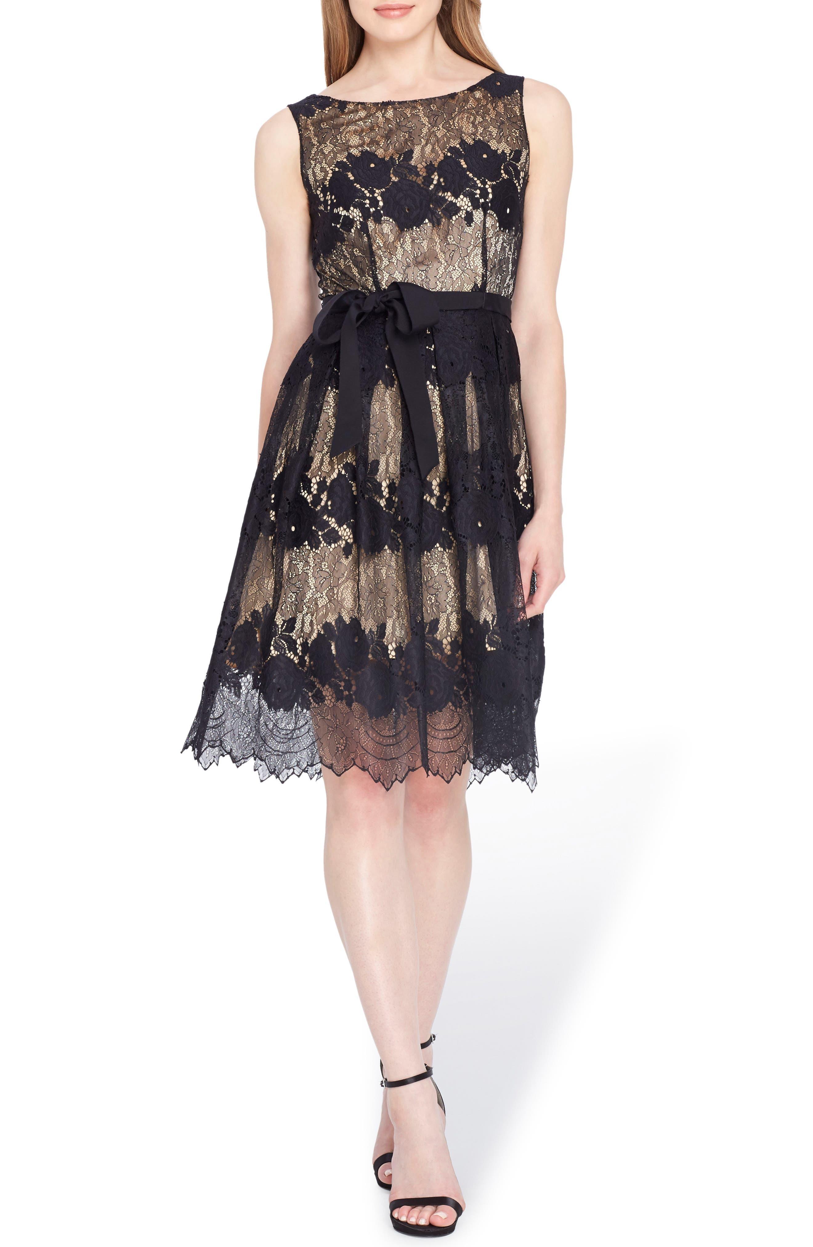 Lace Fit & Flare Dress,                         Main,                         color, Black/ Nude