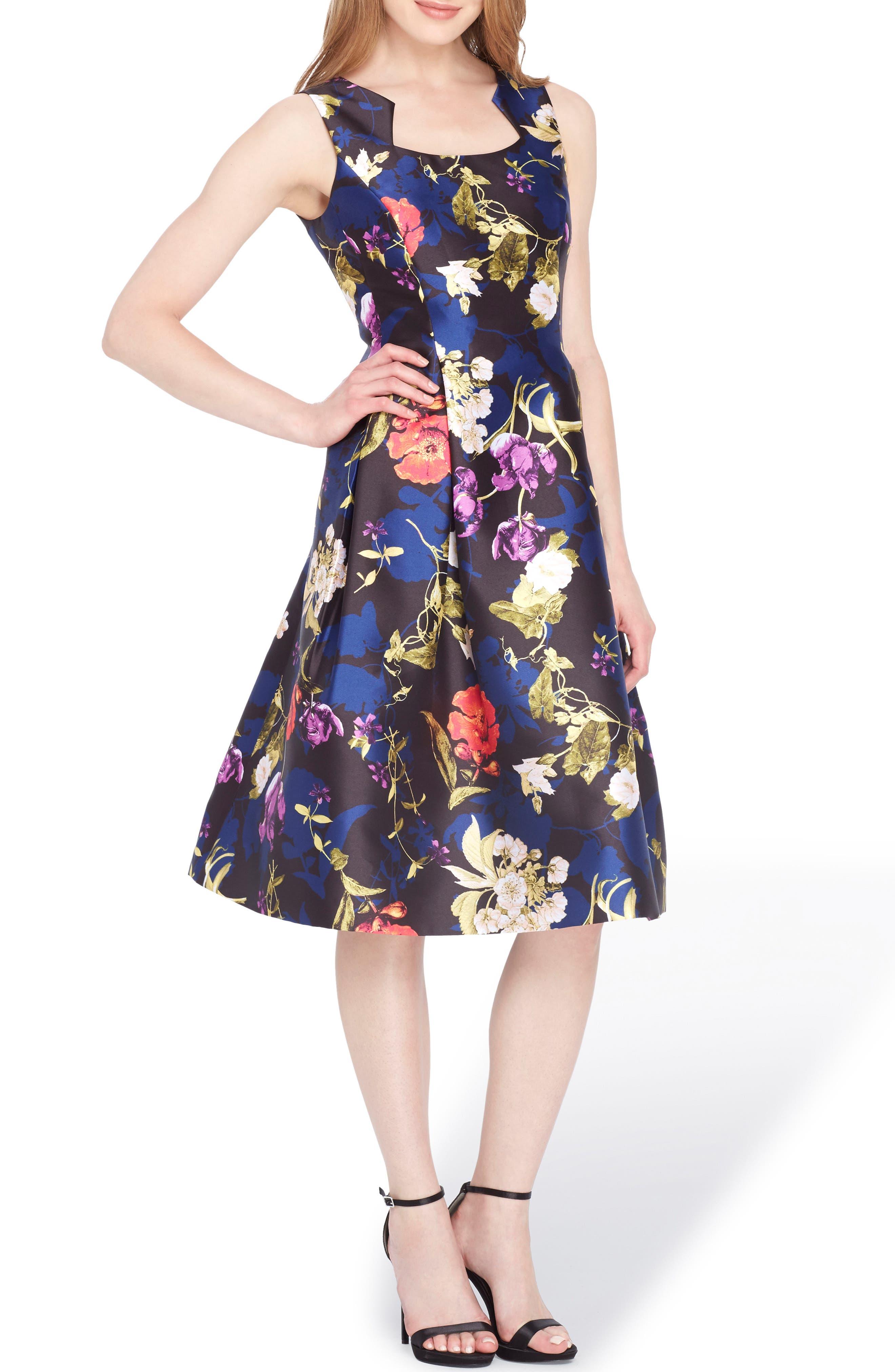 Floral Fit & Flare Dress,                             Main thumbnail 1, color,                             Black/ Red/ Violet