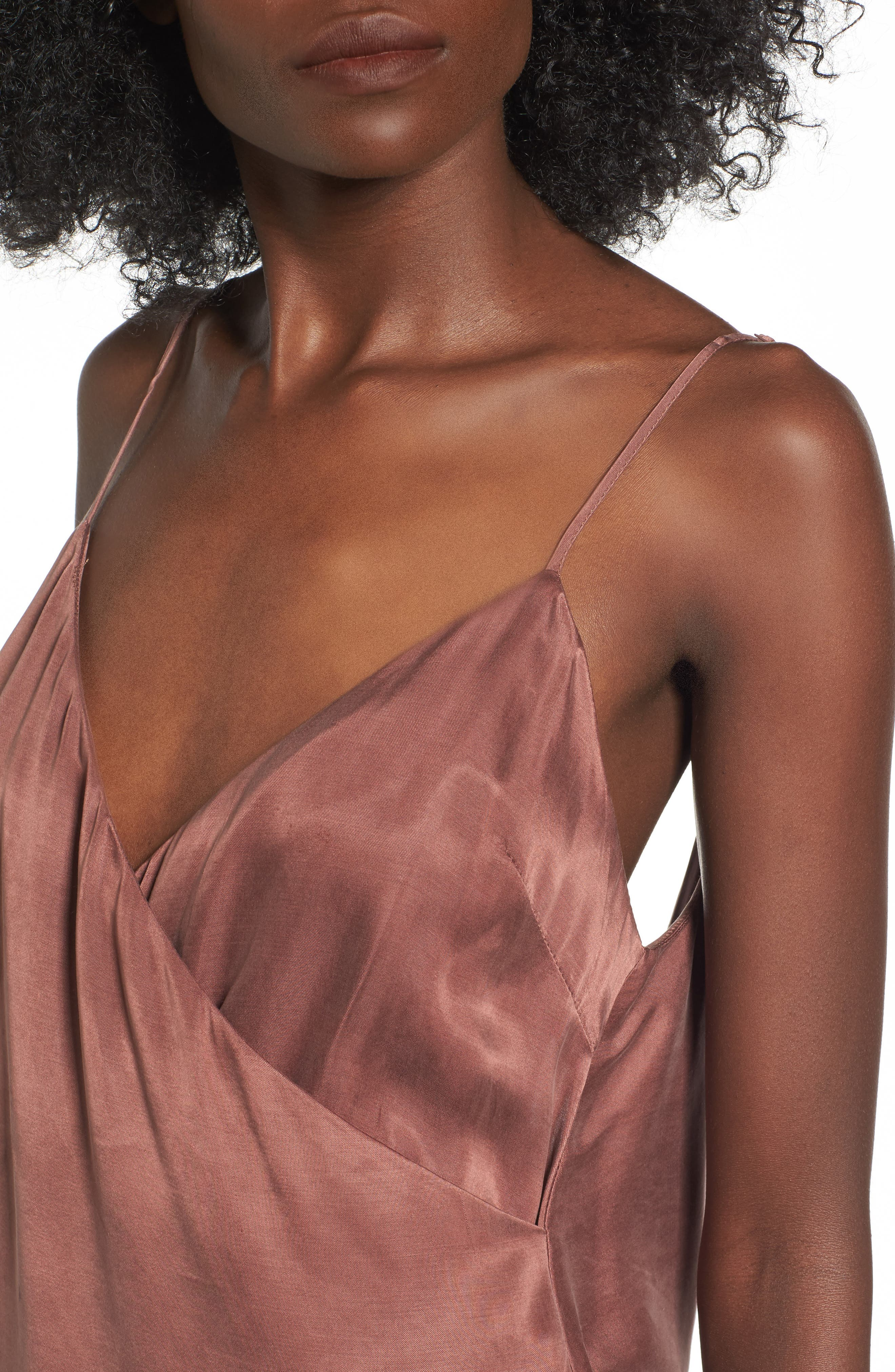 Monica Drape Back Camisole,                             Alternate thumbnail 4, color,                             Chocolate Rose