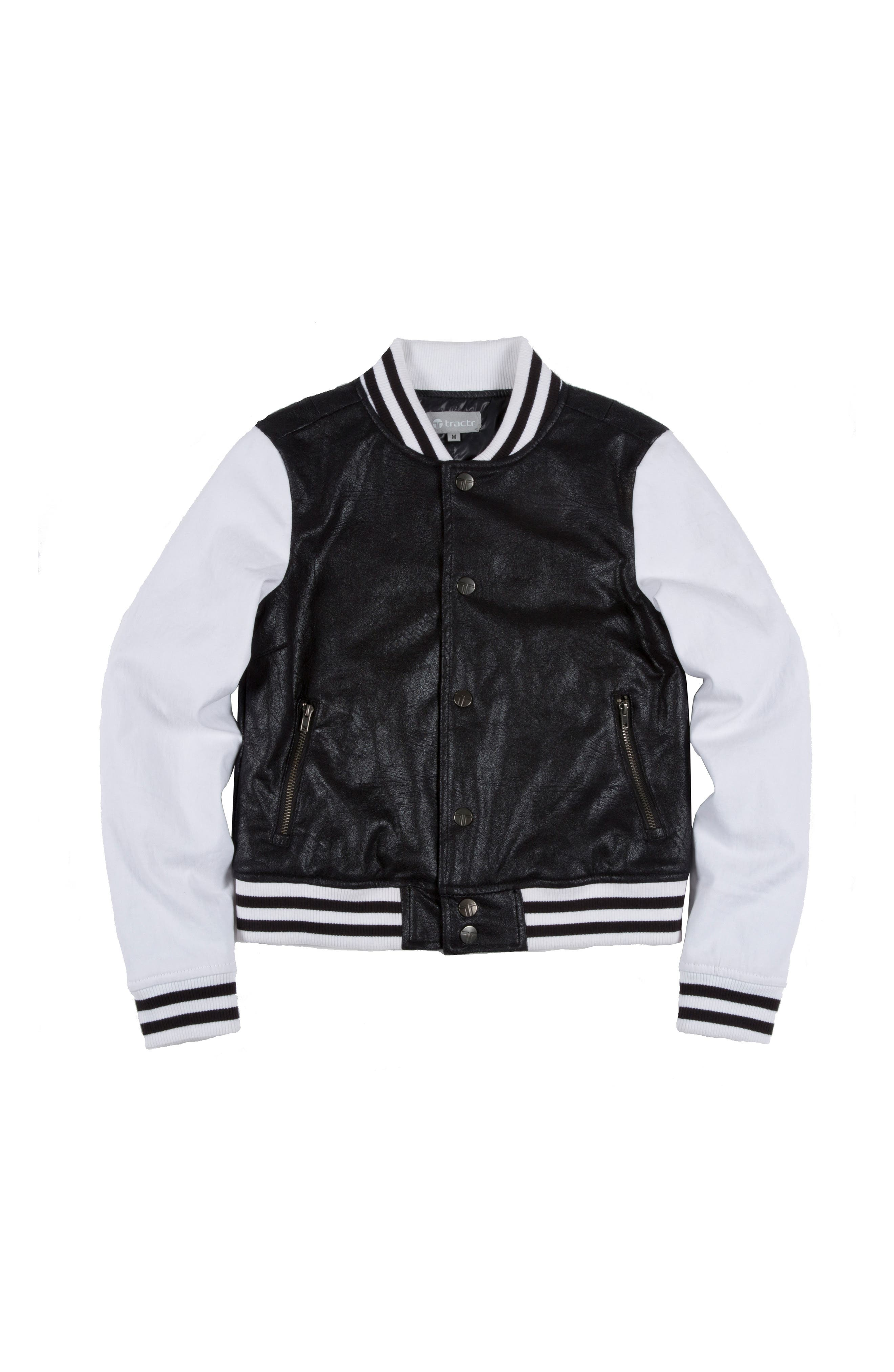 Tractr Mixed Media Baseball Jacket (Big Girls)